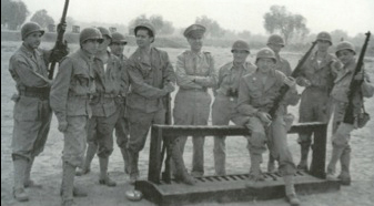 "Army Signal Corps' ""Fort Fox,"" Hollywood, c. 1944. Dr. Seuss second from right, Lee Katz far left."
