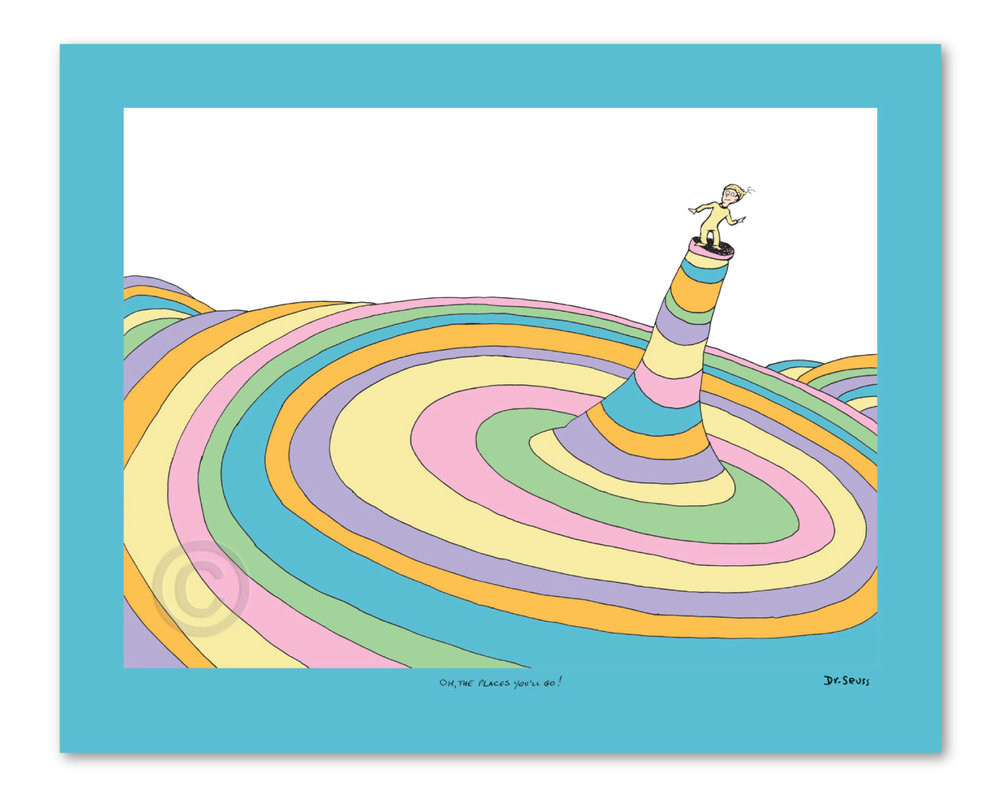 "Oh, the Places You'll Go! Cover Illustration   Fine art pigment print on acid-free paper with deckled edges, image size: 13"" x 17.5"", paper size: 16.5"" x 20.5""  Limited Edition of 2500 prints numbered 1/2500 – 2500/2500, 99 Patrons' Collection prints numbered I/XCIX – XCIX/XCIX, 155 Collaborators' Proofs numbered 1/155 – 155/155, 2 Printer's Proofs numbered PP 1/2 – 2/2 and 5 Hors d'Commerce prints numbered HC 1/5 – HC 5/5."