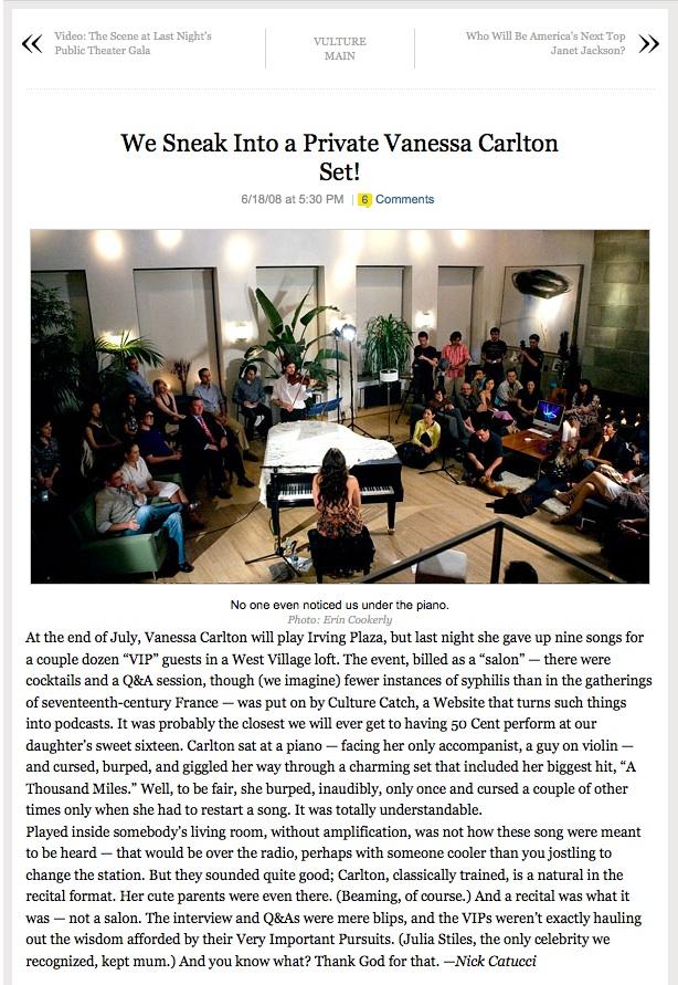 Vanessa Carlton at Bennett Media Studio, featured on New York Magazine