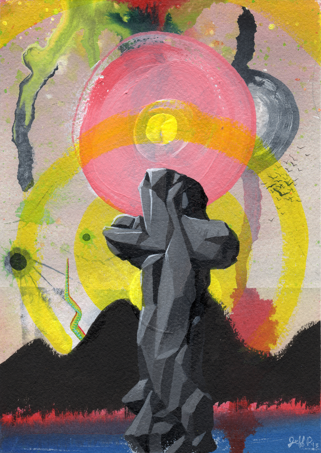 Acrylic, Acrylic Ink on Paper  7 x 5 inches  2013
