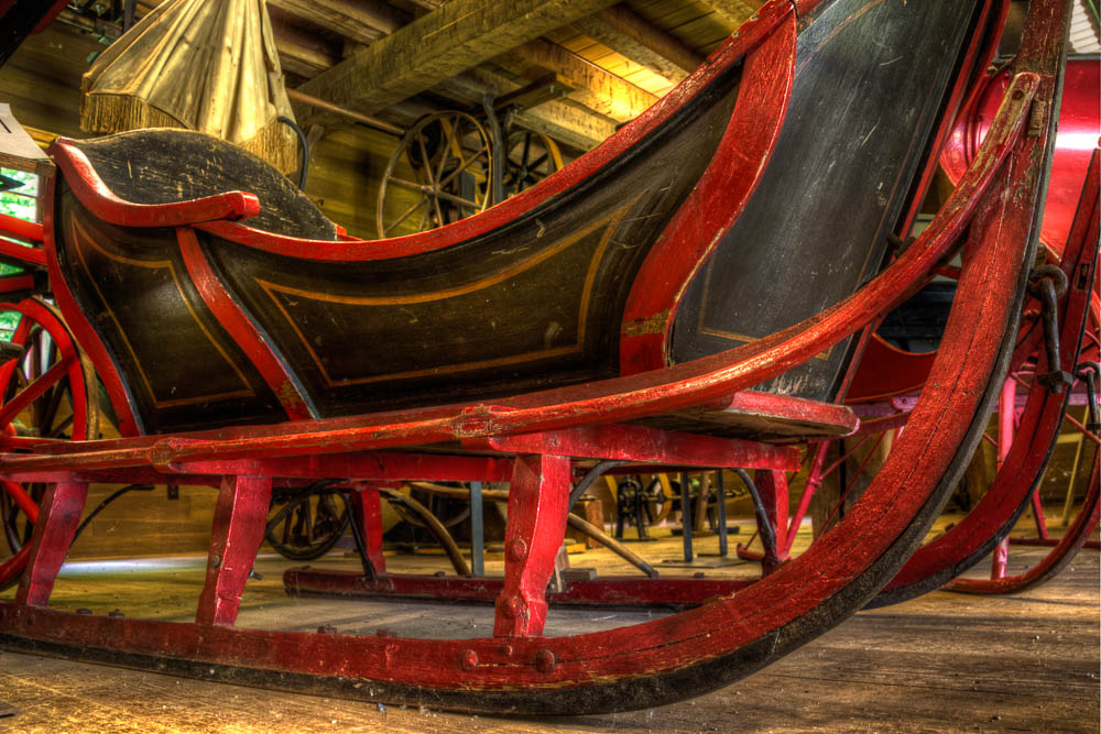 A sleigh from the vehicle barn. 3 shot HDR, camera placed on the floor.