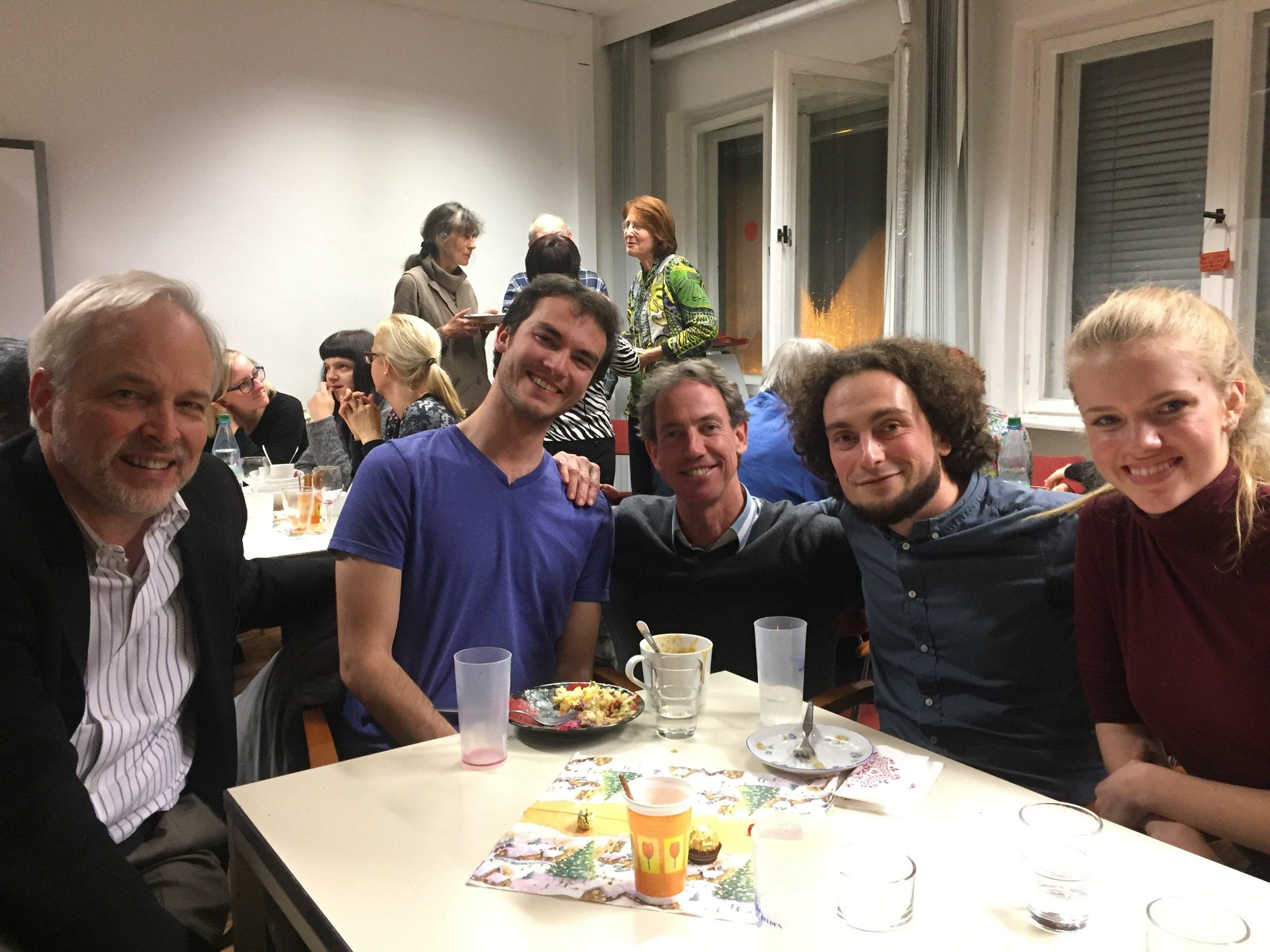 Tom Lloyd, Tom Sternberg HC'17,Jan Dahlgrün (visit organizer for Int. Chor), Eugen Zigutkin (conductor for Int. Chor), Anna Swartzentruber BMC'18