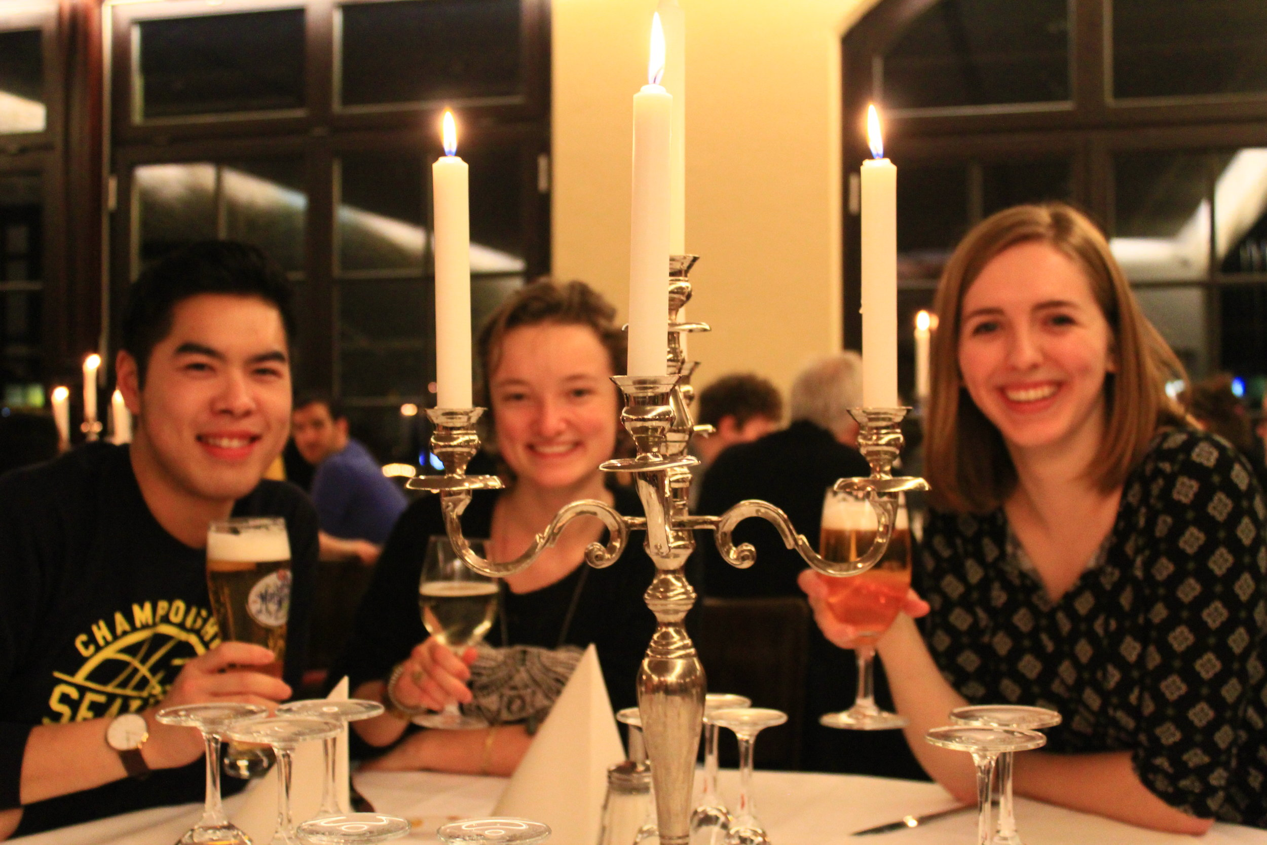 After the concert (Emily Drummond BMC'17 (right)) with friends from Collegium Musicum.