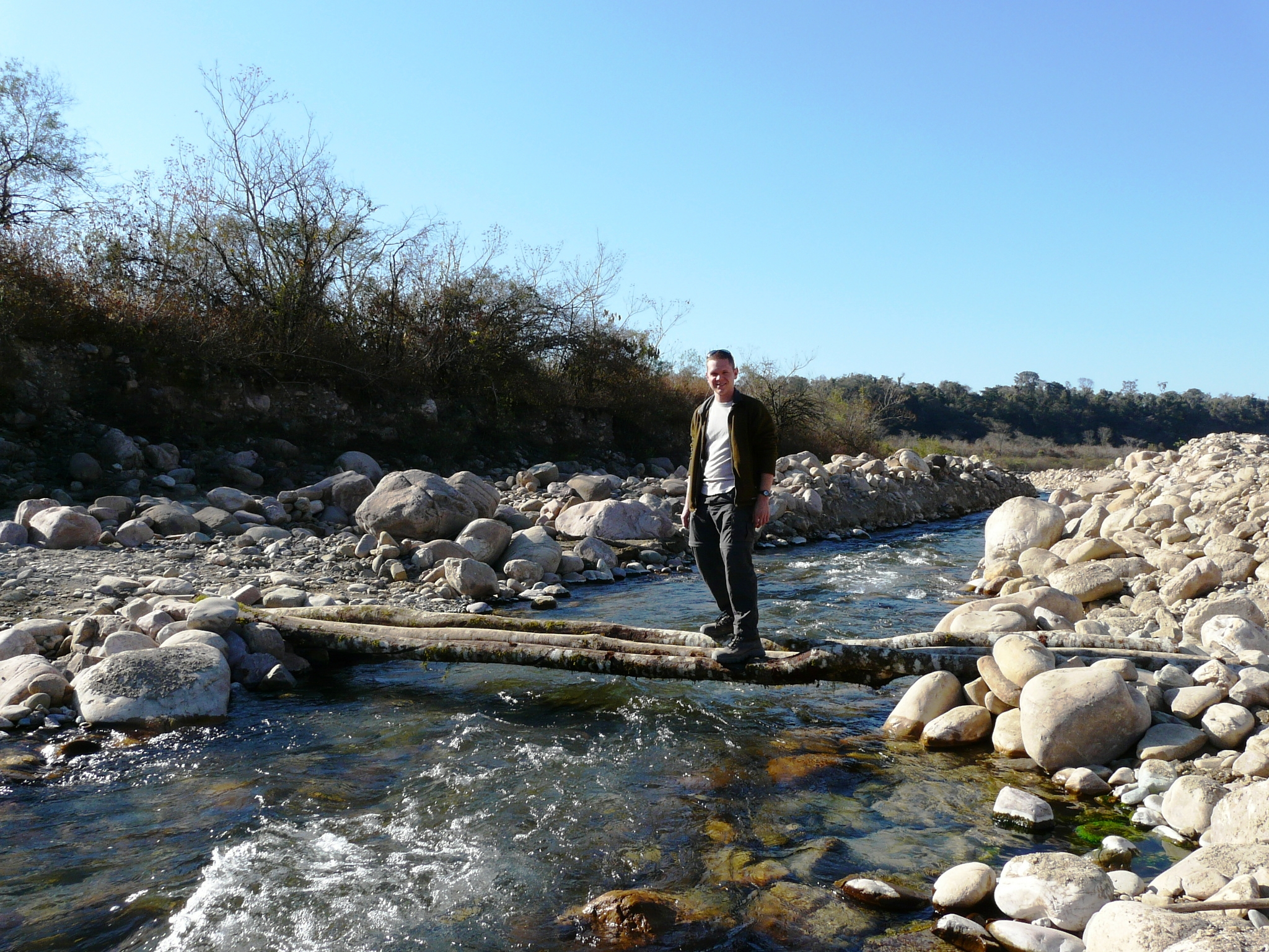 Crossing a branch of the Iruya River--this is only possible during the dry season!