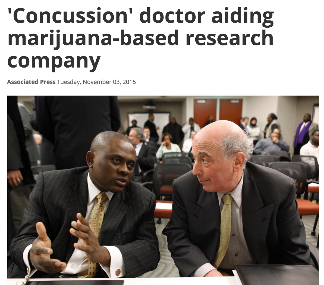 The doctor featured in the Hollywood film 'Concussion' is also an advocate for marijuana