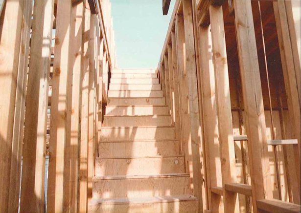 The stairs leading to the offices/roof