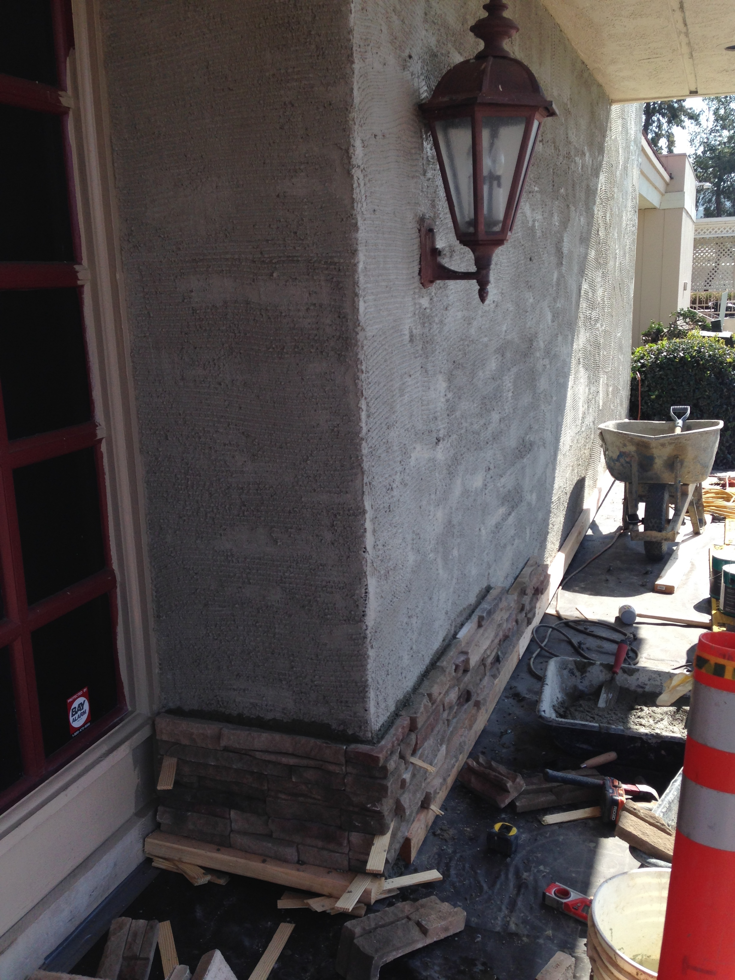 The beginning of the exterior remodel.