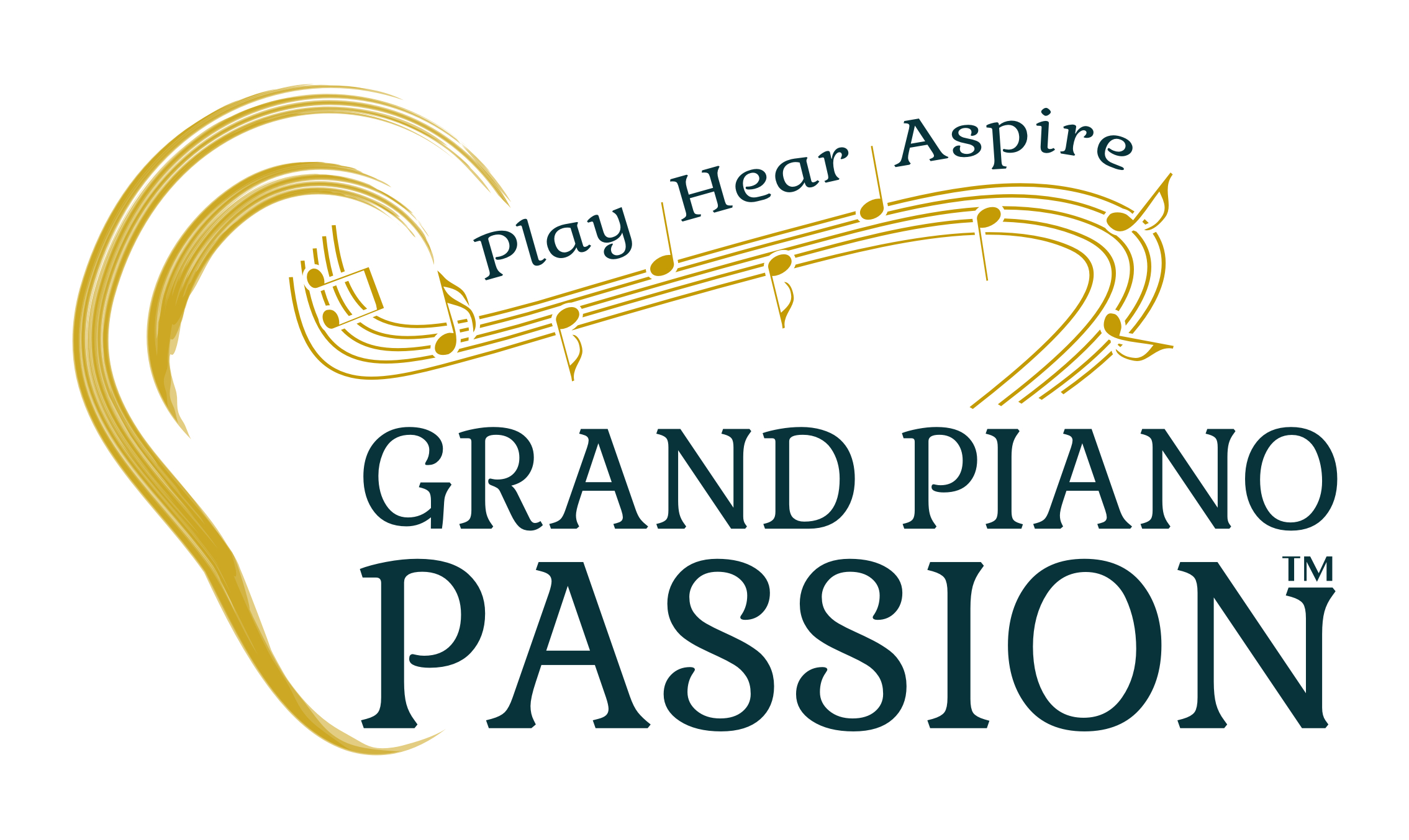 "Grand Piano Passion logo with an ear and music notes and the tagline, ""Play, Hear, Aspire"""