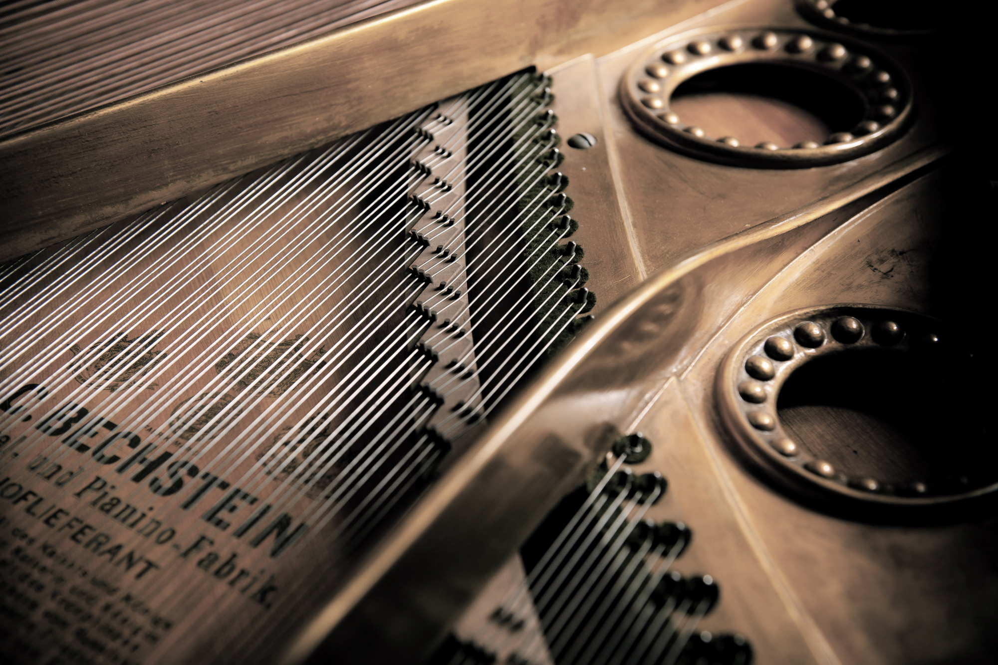 A shot of the inside of a grand piano, showing strings and sound board