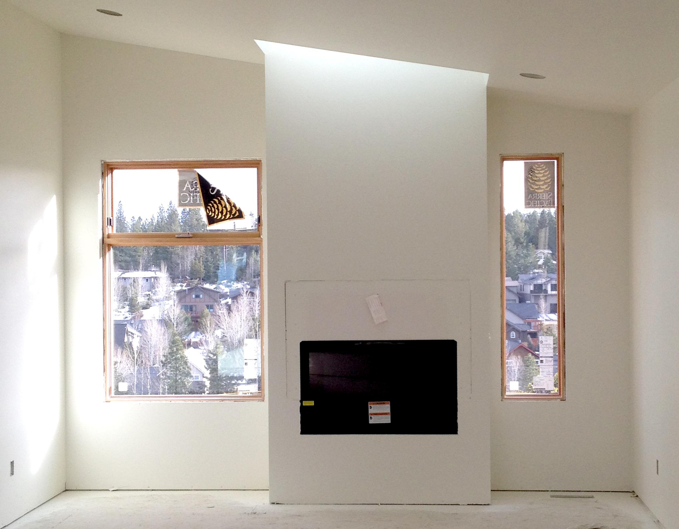 Fireplace bump-out w/ skylight above