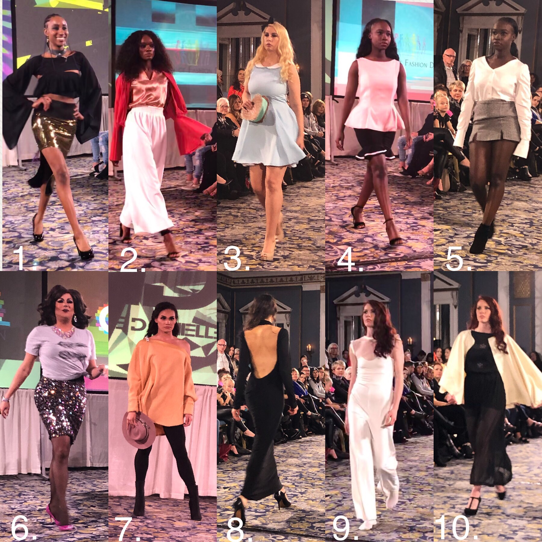 1. Melissa Squire 2. Academy of Fashion Design 3. Academy of Fashion Design 4. Academy of Fashion Design 5. Academy of Fashion Design 6. OUTSaskatoon  7. Cassie Danielle Designs 8. Emily Ann's Designs 9. Emily Ann's Designs 10. SS River Designs
