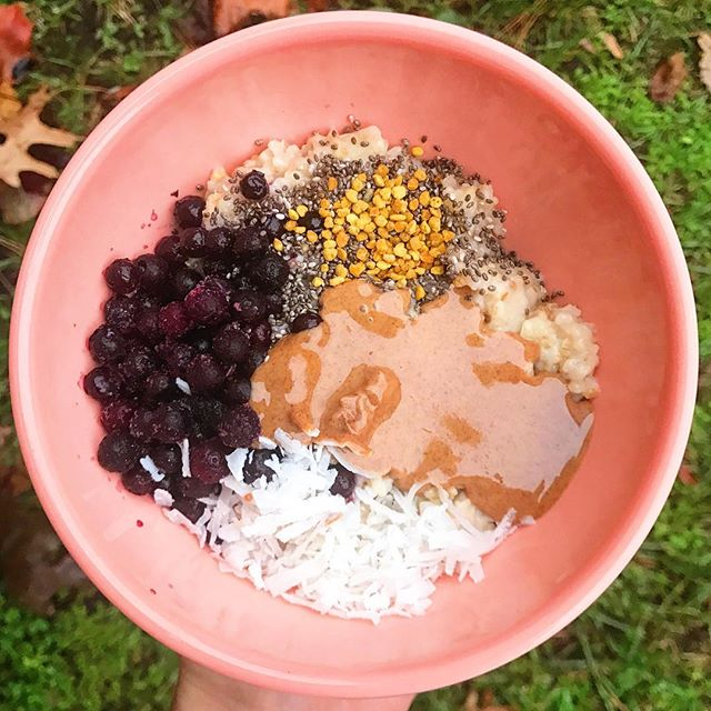 Loving on my oats again this morning! 💕I jazzed up the toppings with wild blueberries, chia seeds, @maine_medicinals bee pollen, @crazyrichardspb almond butter (in addition to the best peanut butter and cashew butter, @crazyrichardspb makes the best almond butter!  So drippy and delicious! 😍), and finally some shredded coconut flakes.  Today is going to be a very busy one but at least I had some time to sit down and enjoy this baby before I had to race out the door 🏃♀️