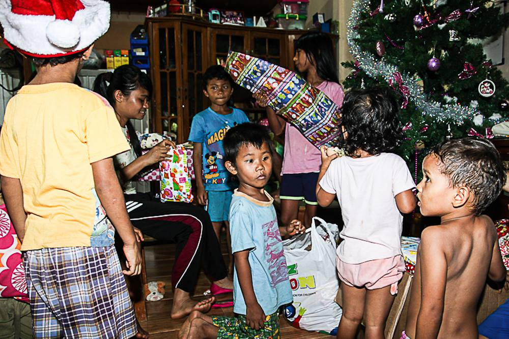 Passing out Christmas presents