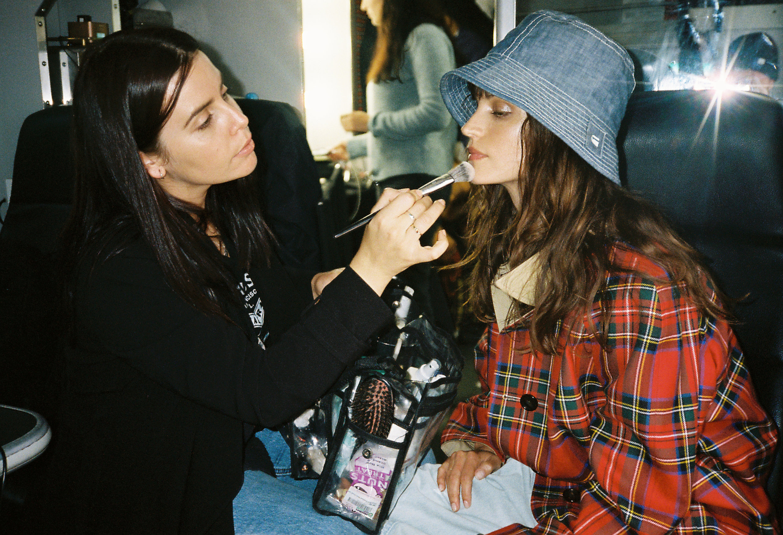 Charlbi  on set the set of a fashion story we shot together earlier in the year . Make up artist  Kelly Paitaki