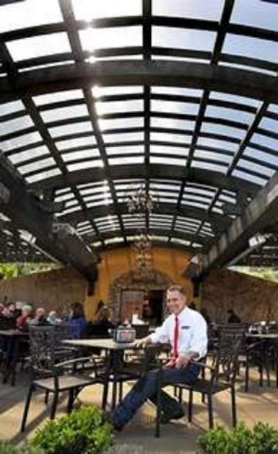 Dan Marca has created a covered outdoor space at his Dancin Vineyards on South Stage Road. Mail Tribune / Bob Pennell