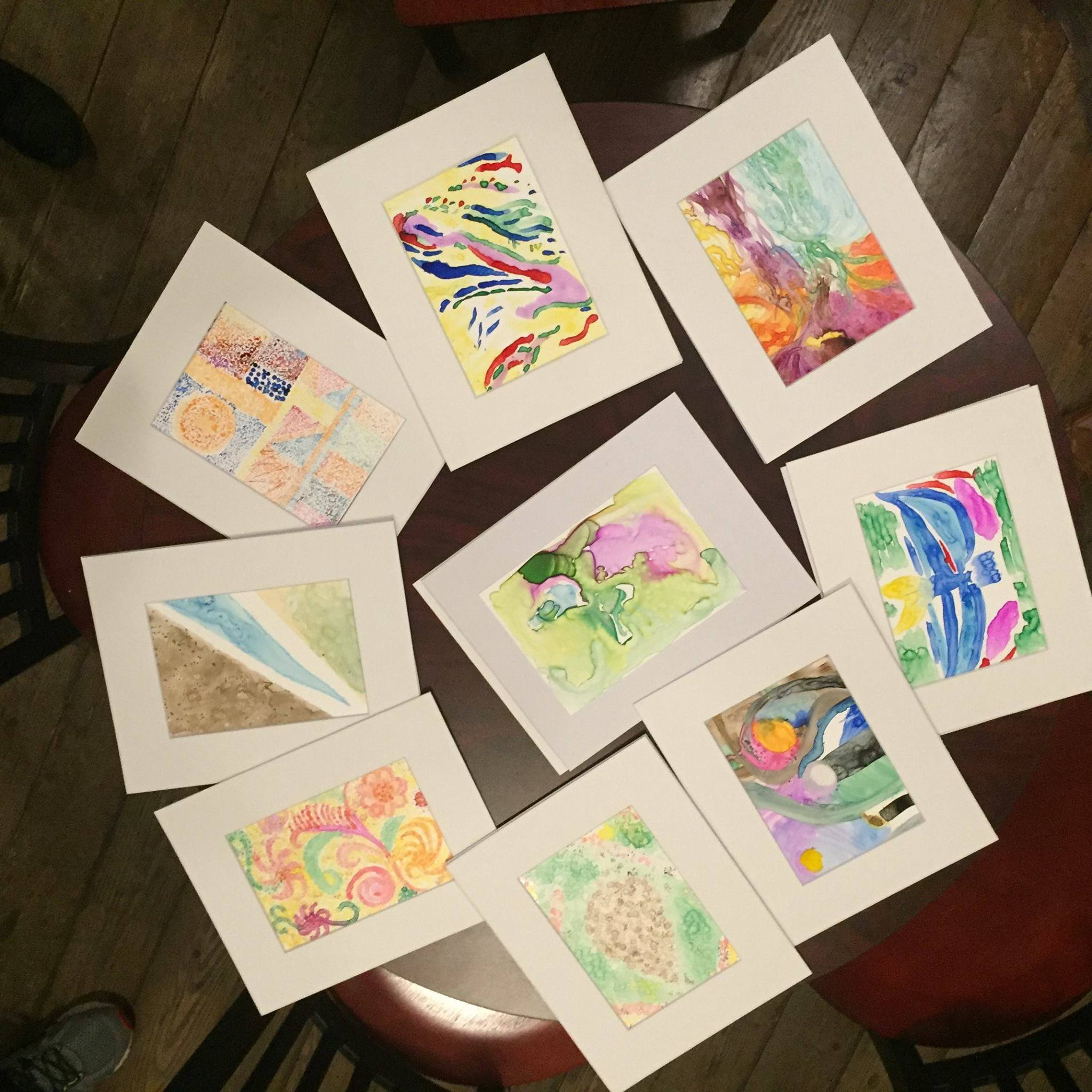Individual art pieces by attendees