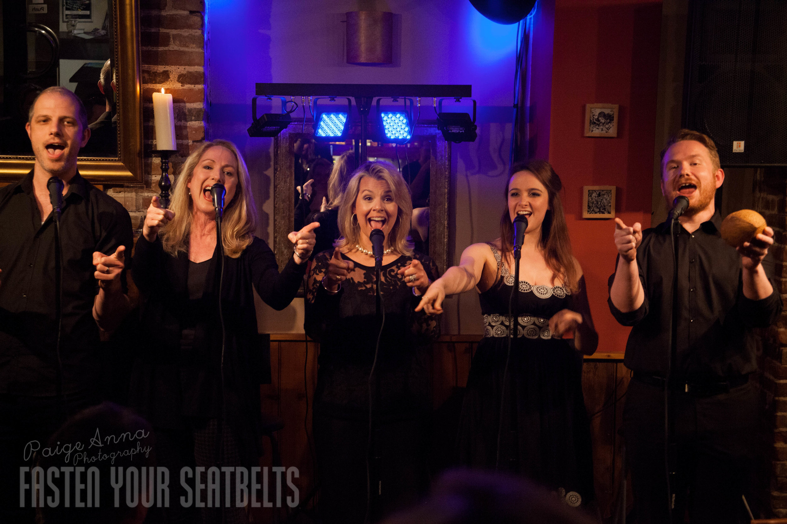 Nate Rogers, Pippa Winslow, Maureen Rejali, Stephanie Napier and Elliott Griffiths singing 'Thataway' in THE SONGS OF KANDER AND EBB