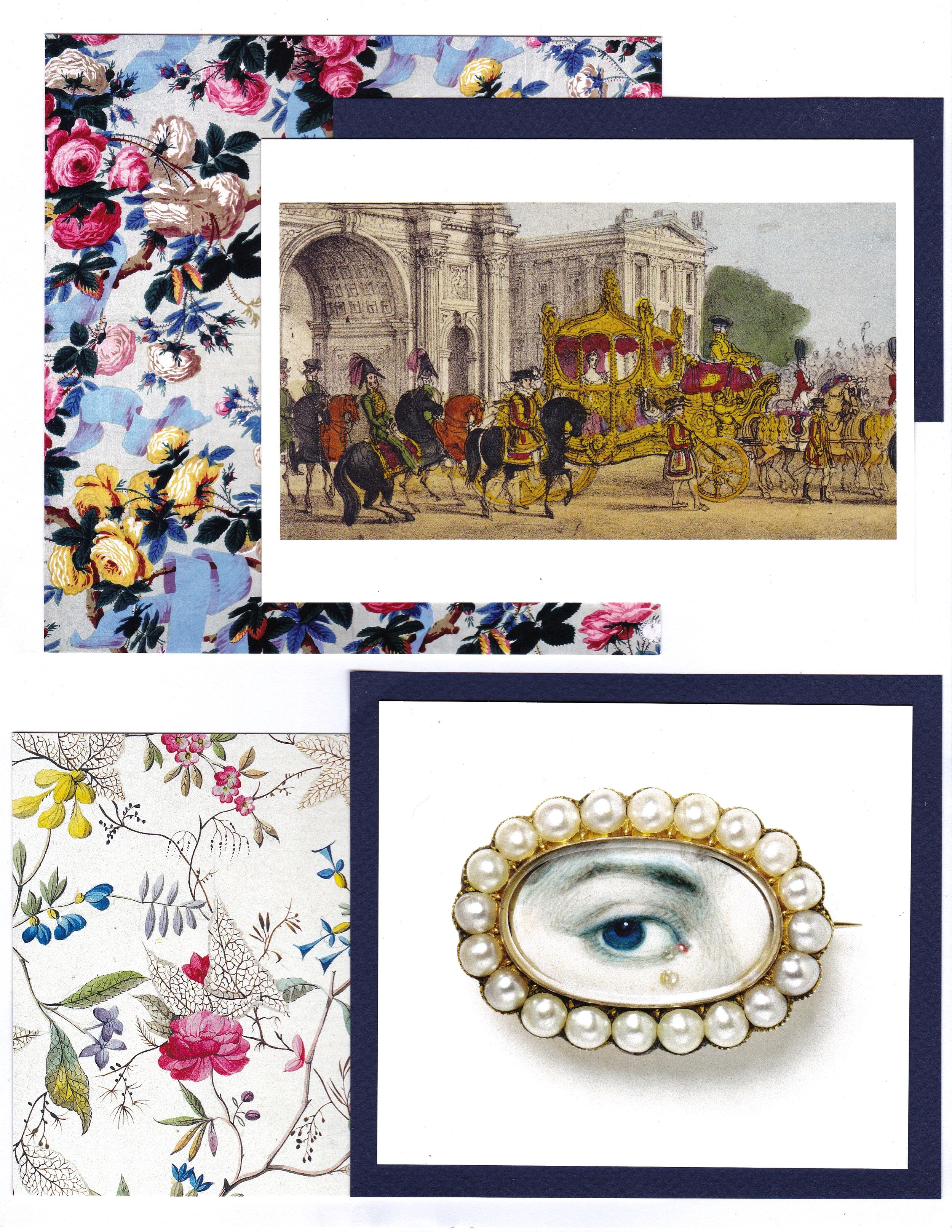 Early 1800s inspiration from the V&A. Top: The Queen in her State Carriage From 'Robin's Panoramic Representation of the Queen's Coronation Procession from the Palace to the Abbey, on 28th June 1838' by Joseph Robins. London, 1838. Bottom: Eye Miniature, Watercolor and diamonds on ivory. Britain, 1790-1810. Background: Printed Textiles, Early 1800s.