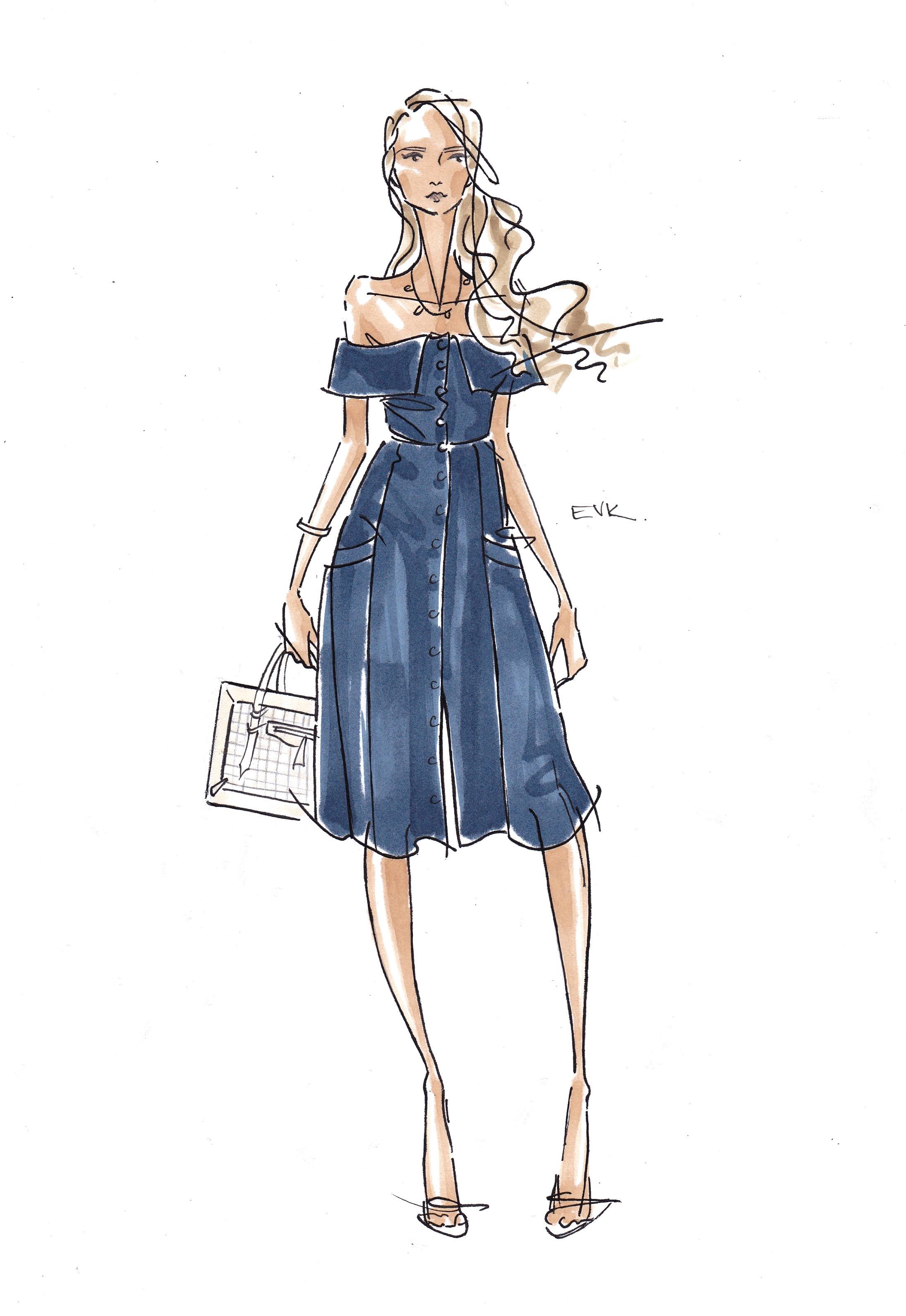 Amanda Norgaard + Structured Off-The-Shoulder - Copenhagen Fashion Week SS16  (2015) Marker, ink, pencil on archival bond, 11 x 8 inches © 2015 Elise Vavrus Krohn