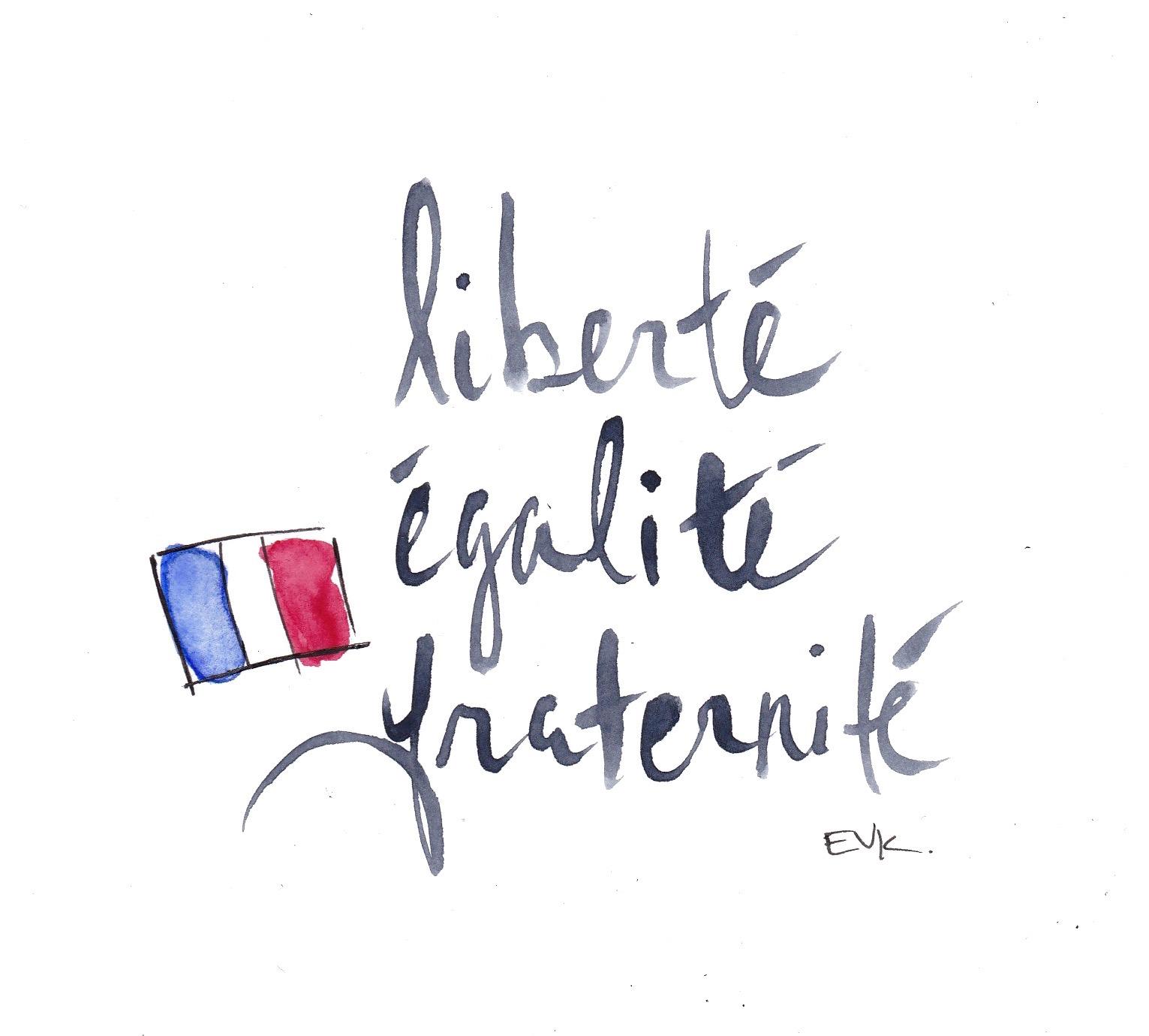 """""""Liberté,Égalité,Fraternité"""" on Nov 13, 2015 (2015) Watercolor and ink on card, 4 x 6 inches © 2015 Elise Vavrus Krohn"""
