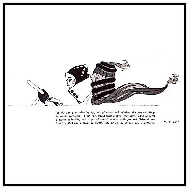 Speeding along from fall into winter! If only #holidaytravel could be this glamorous... ❄️Another favorite #Erte design for #harpersbazaar October 1918 issue. #erté #vintageglamour #winterfashion #thanksgivingweekend #cartrip #design #fashionillustration #illustration #fashionart #blackandwhite #wintertrip #holiday #homefortheholidays #minimalism #coldweather