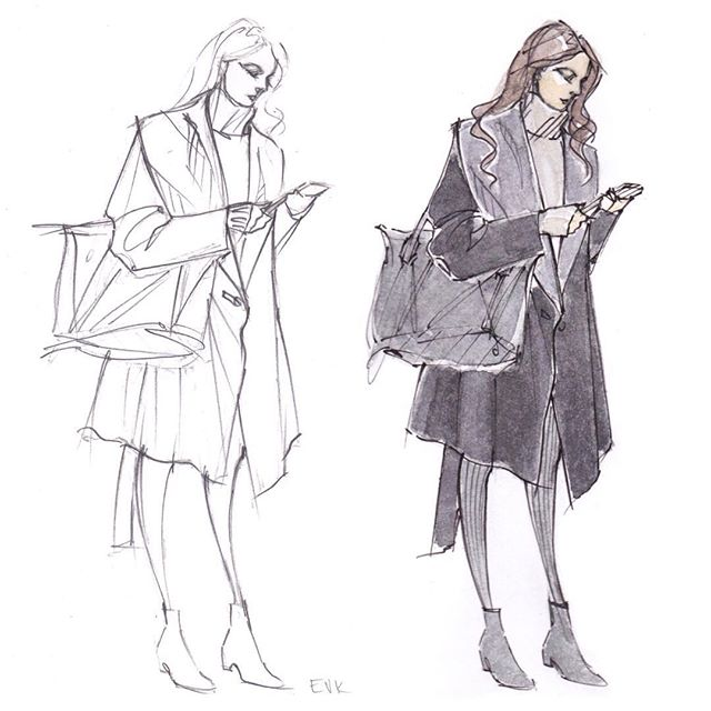 Girl on the other platform, waiting for the uptown 6. Maybe she's making Saturday night plans? Just the sketch & color test for now, full-color version w background on its way! #wip #watercolor #illustration #saturdaynight #sketchbook . . .  #fashionillustration #elisevavruskrohn #sketch #aquarelle #watercolour #fashionsketch #fashionphoto #pencildrawing #fashionportrait