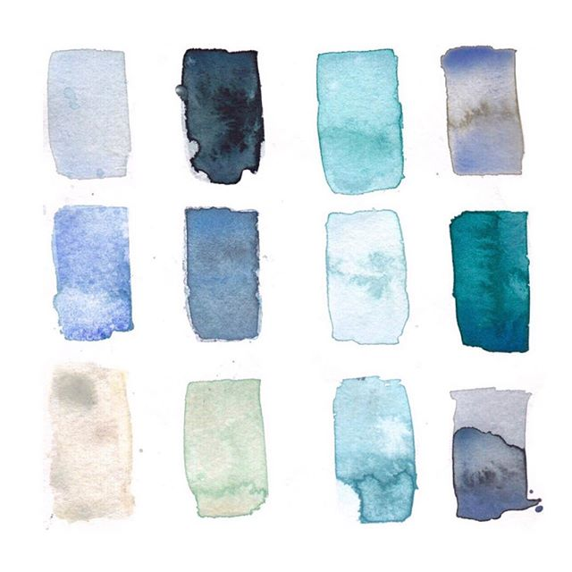 Sunday afternoon blues...Here's my #colorpalette from earlier this month on the #grandtraversebay 🌊 #traversecity #michigan #watercolor #sundayafternoon #sketchbook #blue #illustration . . .  #watercolour #aquarelle #windsorandnewton #mint #teal #moodboard #elisevavruskrohn #sundayvibes #watercolorpainting