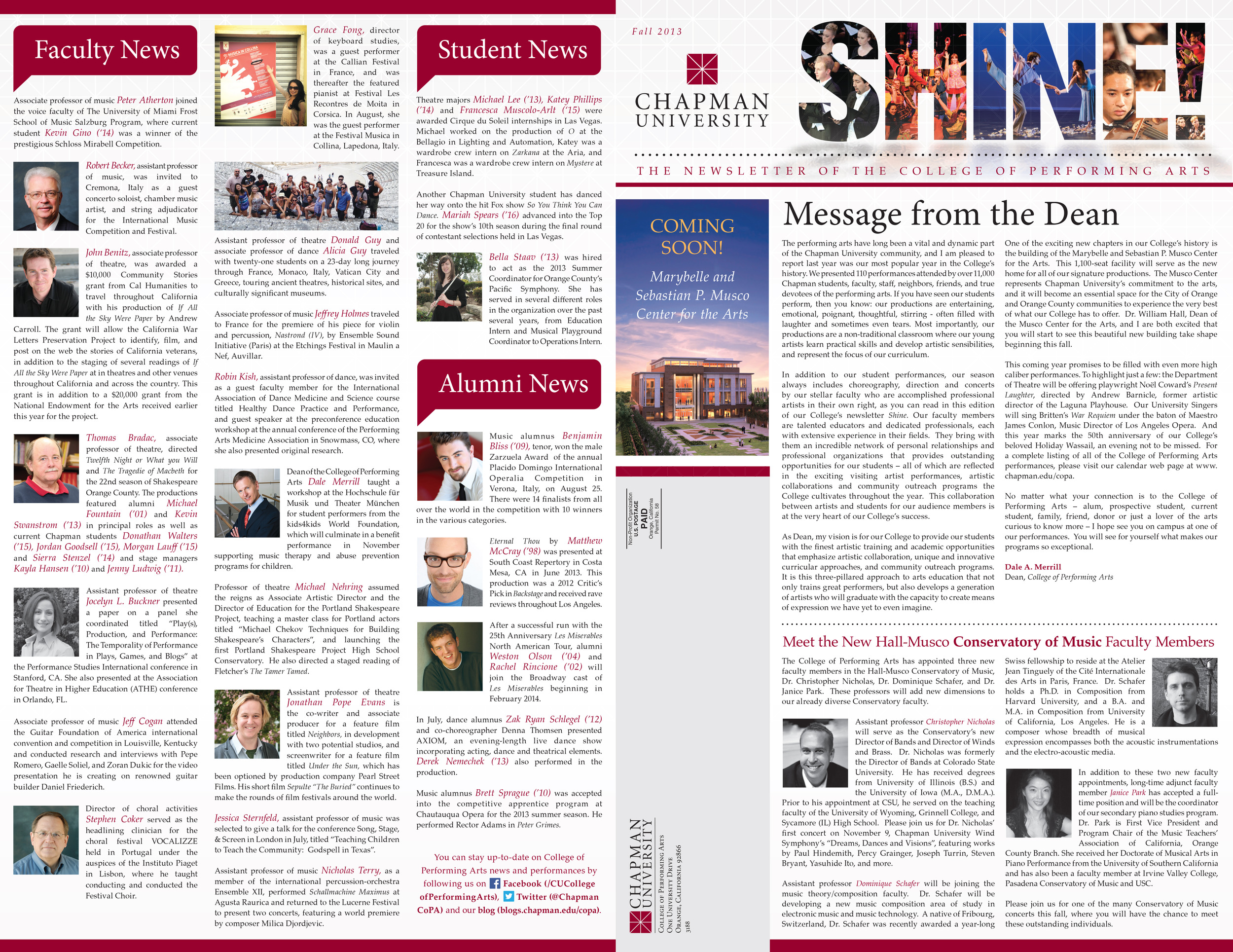 College of Performing Arts SHINE Newsletter
