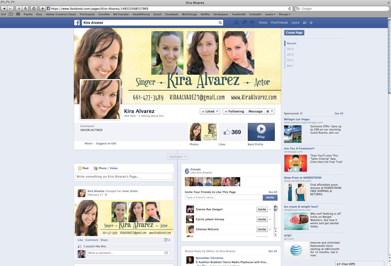 Kira Alvarez Custom Facebook Cover Page