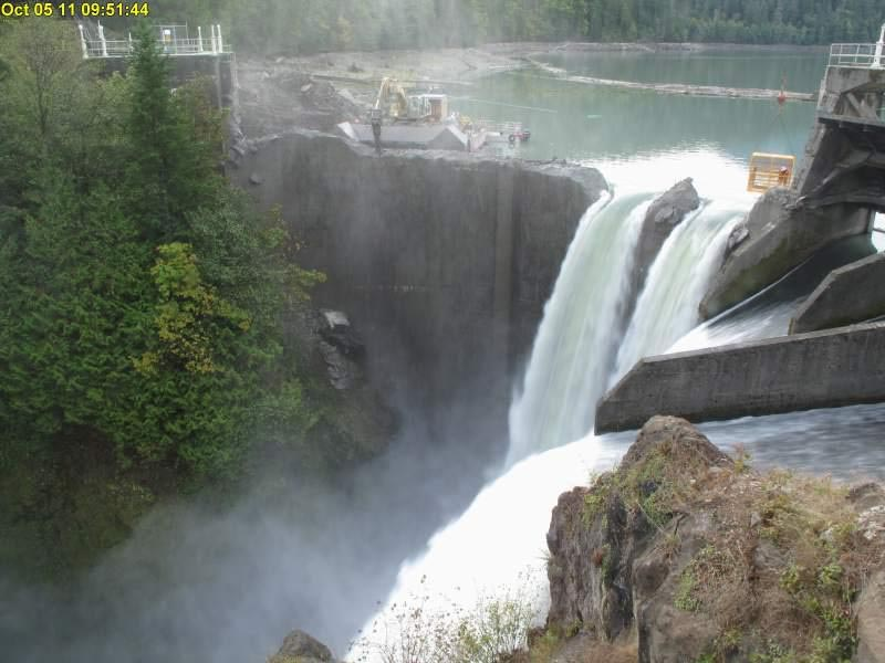 The Elwha Dam in October 2011, about a month after the removal project began.  (Image by Sam Beebe via  Flickr /Creative Commons license)