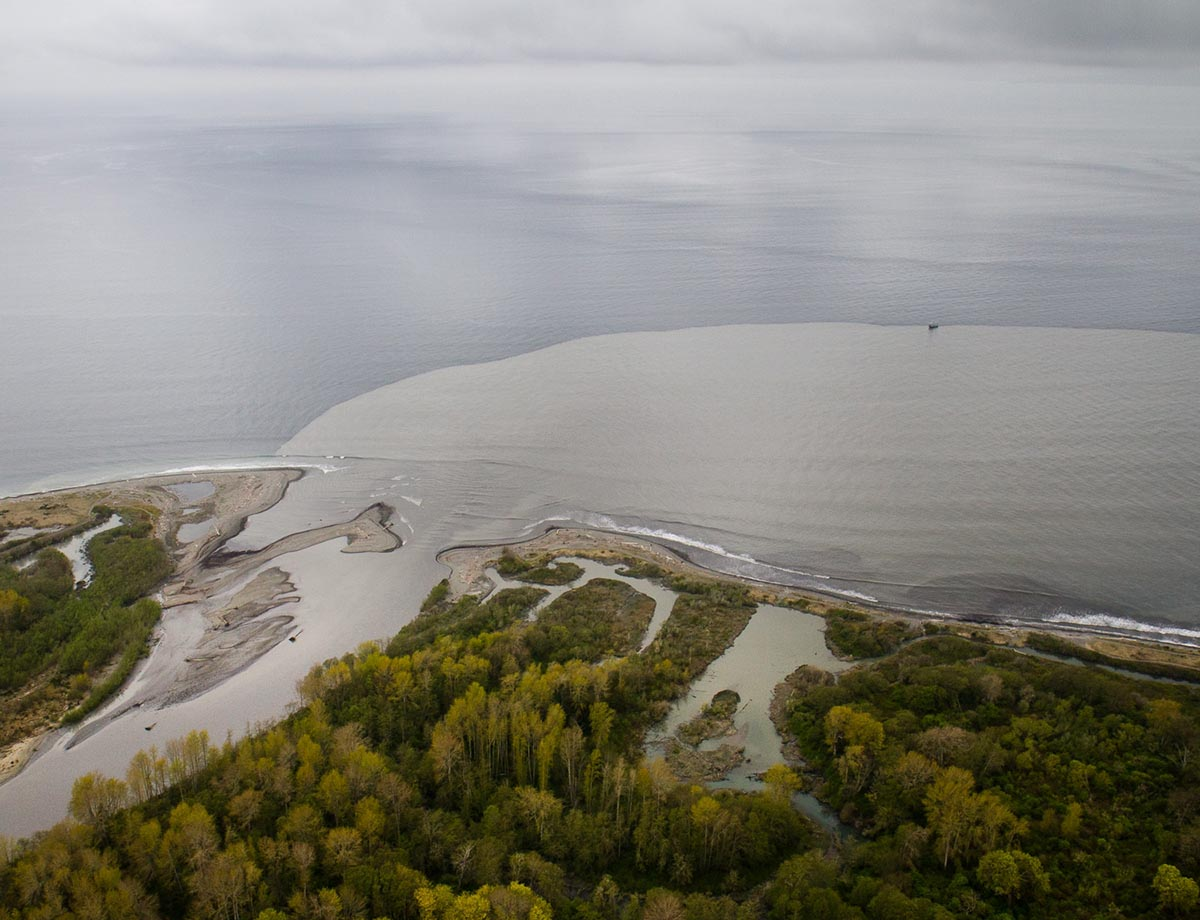 This photo was taken in 2012, during the dam removal project on the Elwha River. Sediment released by the demolition was deposited in and around the estuaries at the river mouth; some sediment also flowed into the Strait of Juan de Fuca as a coastal plume.  (Image by John Felis via  USGS /Public domain)
