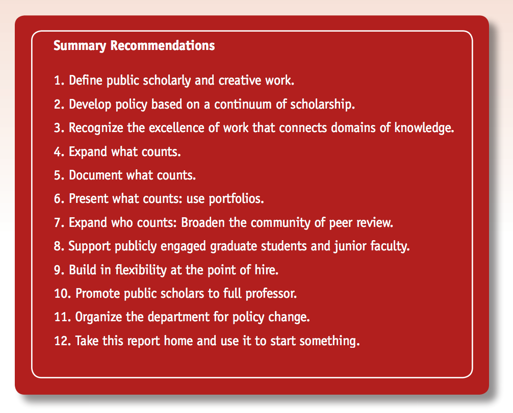 From  Scholarship in Public: Knowledge Creation and Tenure Policy in the Engaged University  (2008)