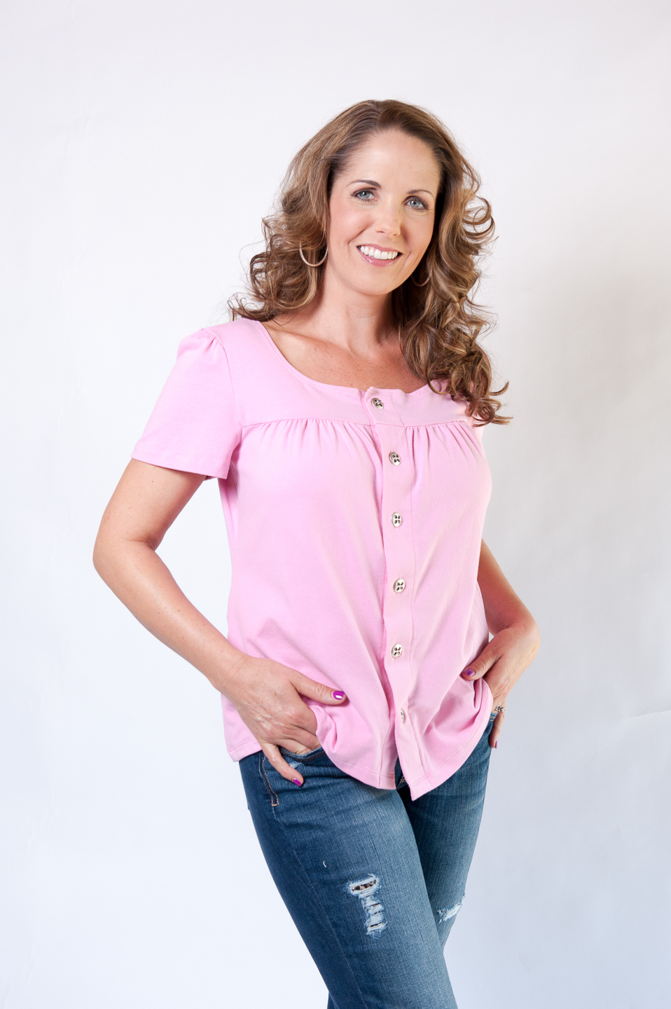 Lesa - Short Sleeve Button-Up Top in PINK $65.95