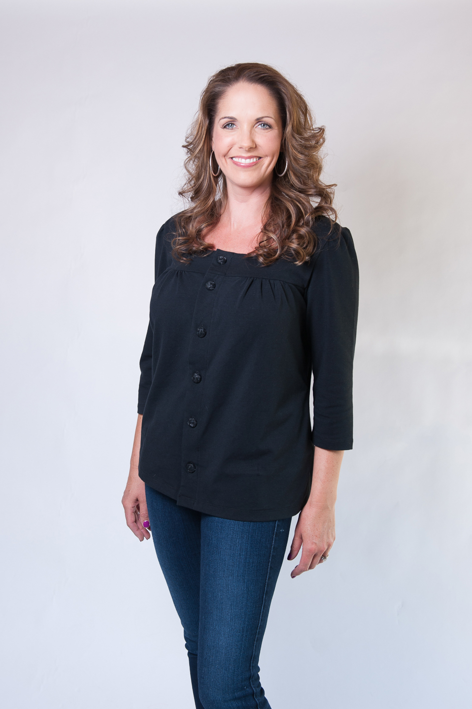 Dianne - Long Sleeve Button-Up Top in BLACK $69.95