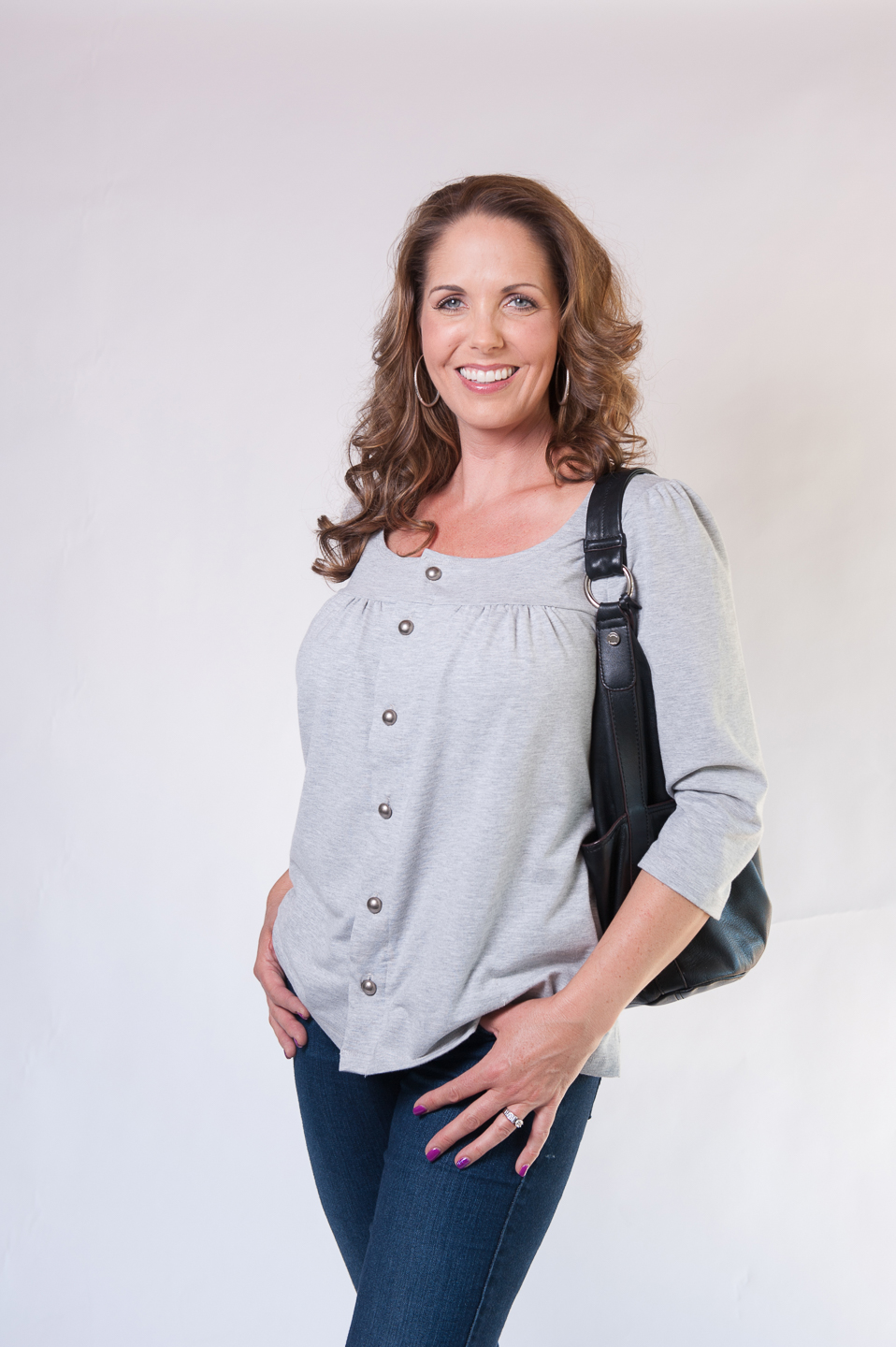 Dianne - Long Sleeve Button-Up Top in GREY $69.95