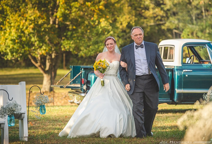 Dad walking bride down aisle
