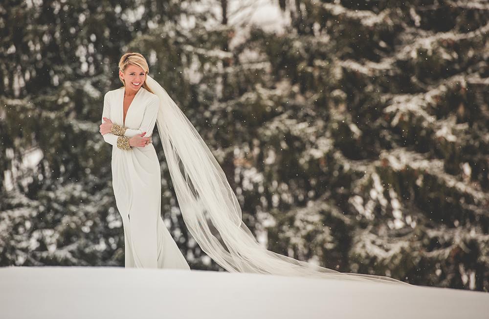 bride in the snow