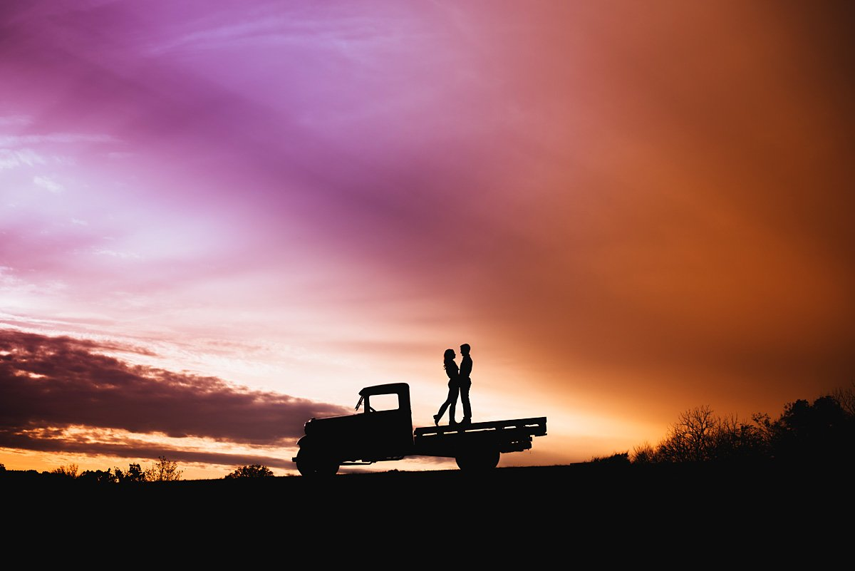Silhouette on truck