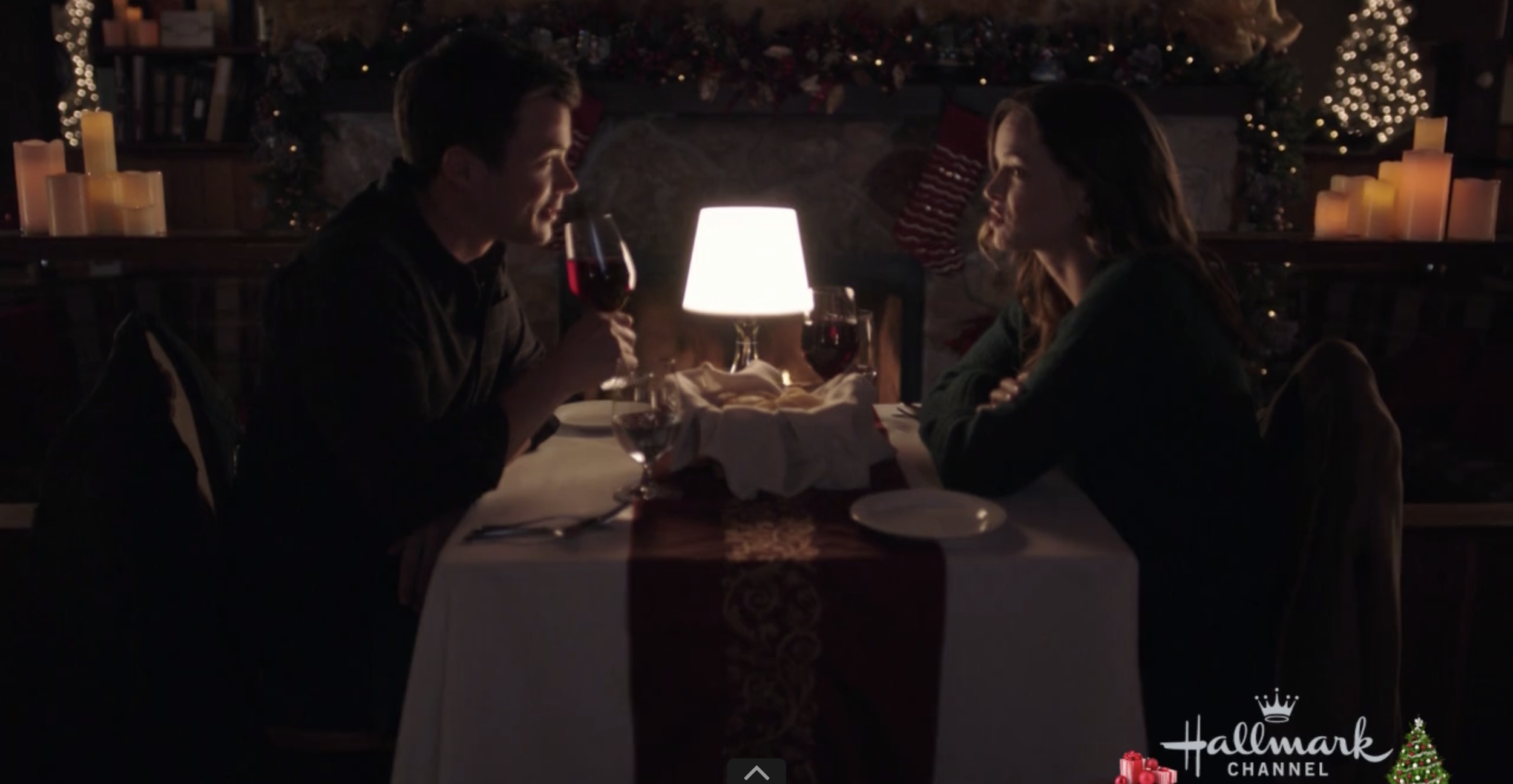 Don't mind the wine, the mood lighting, or the fire— this is totally not a date.