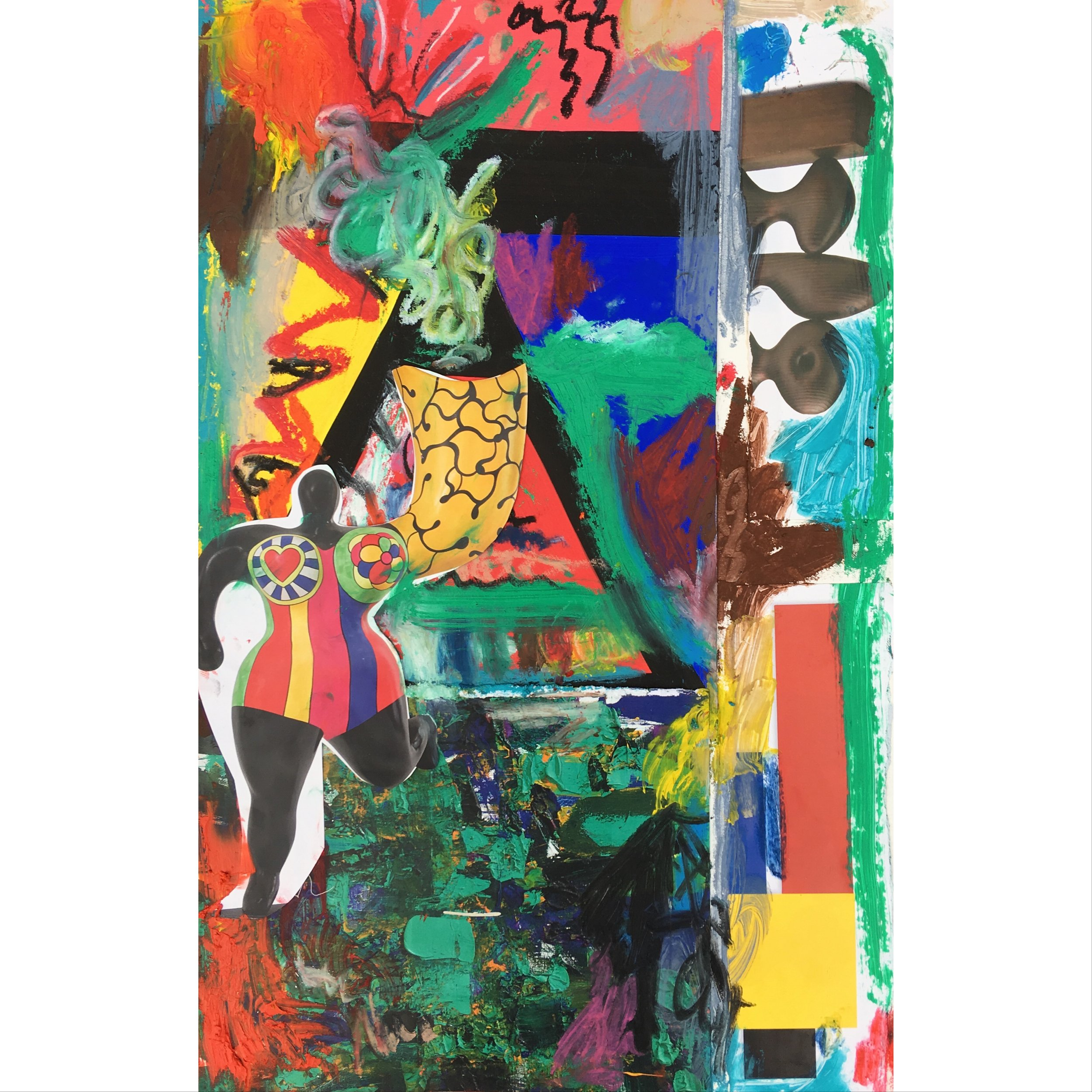 """collage and oil stick on mat board 8"""" x 20"""""""