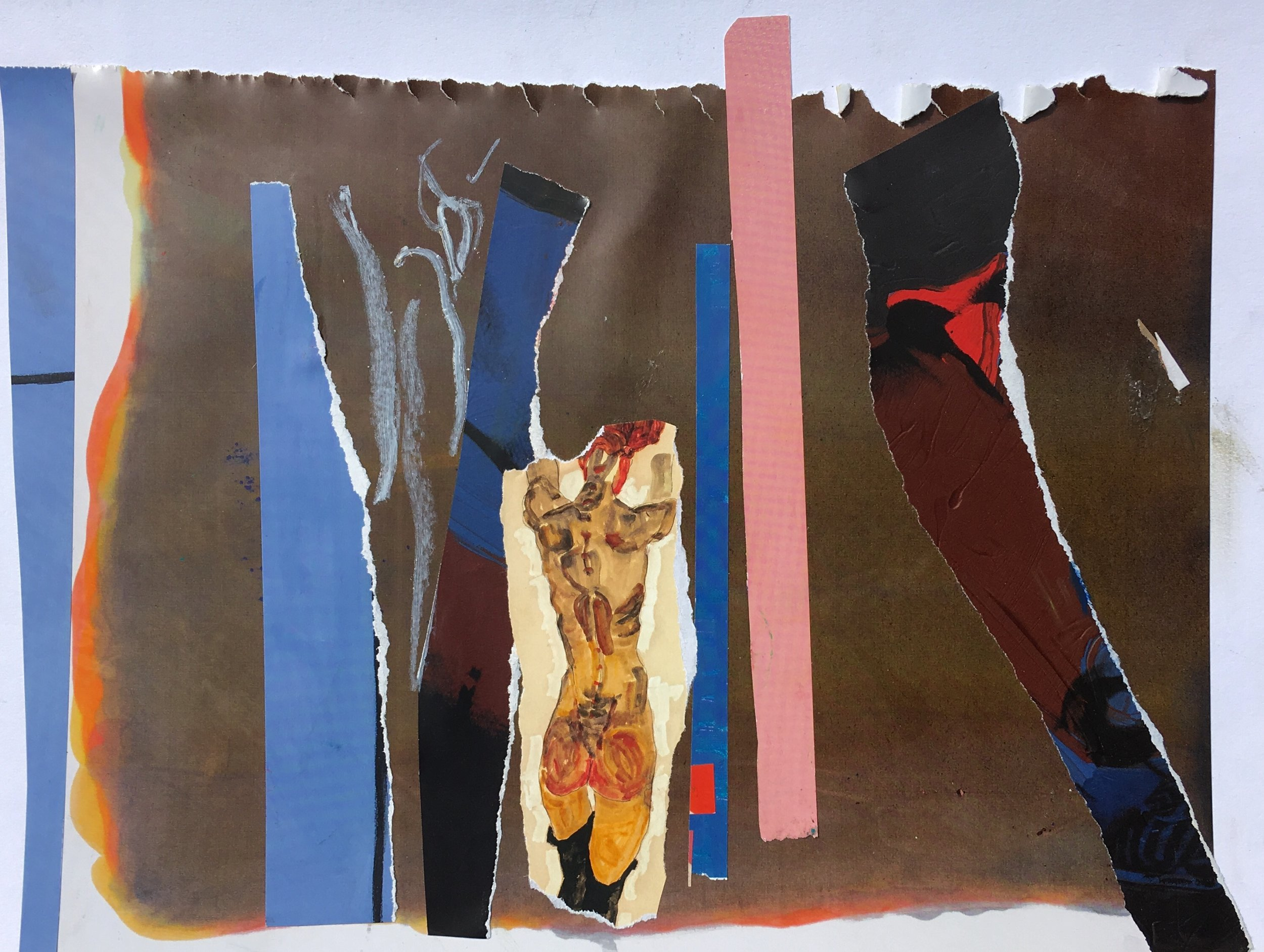 """collage and oil pastel on paper 11"""" x 9"""""""