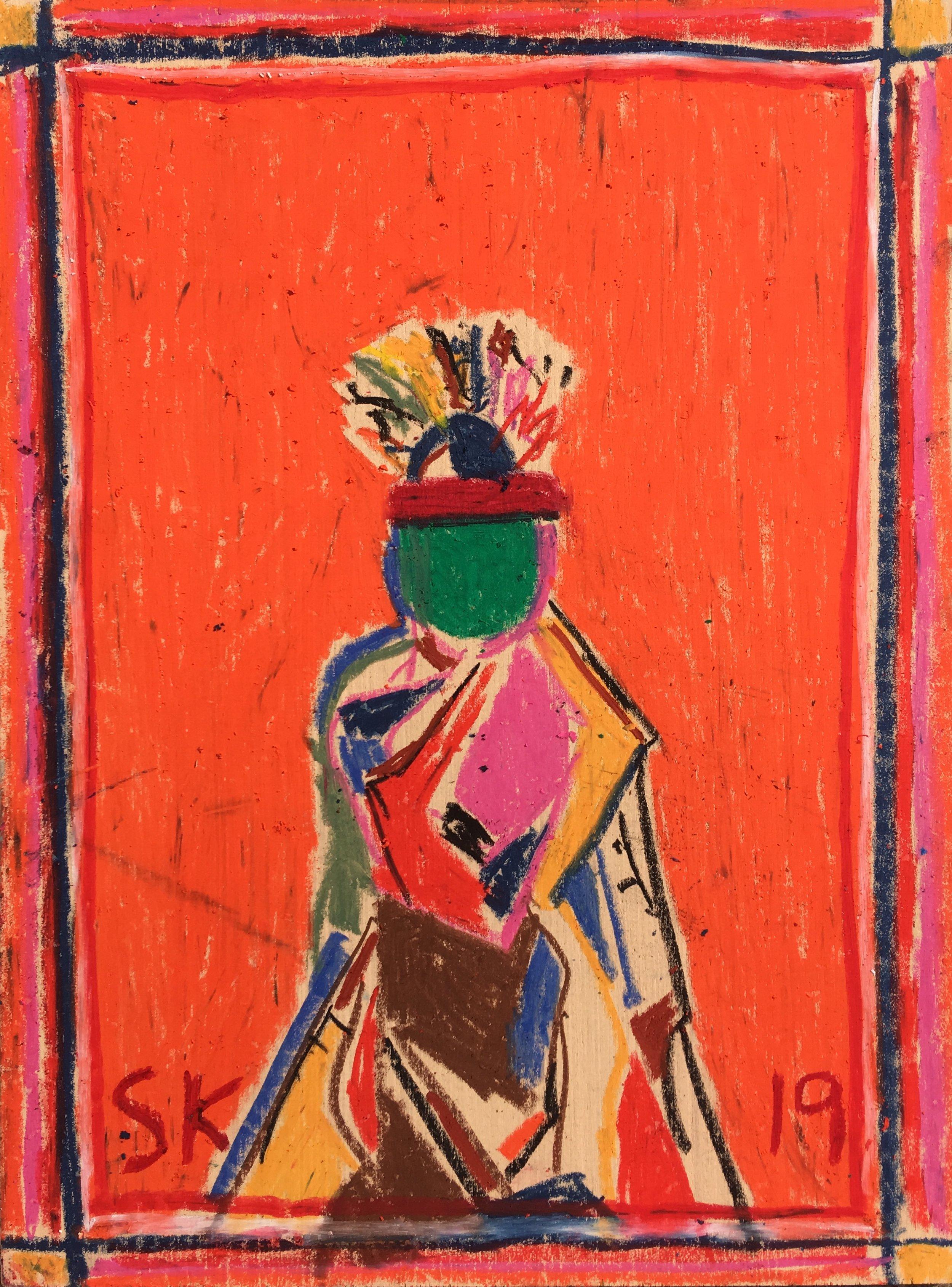 """oil pastel on wood 12"""" x 16"""""""