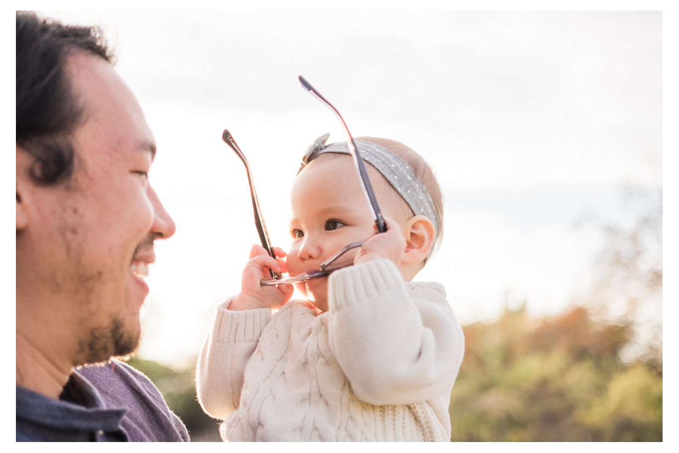family fun outdoor session mom and baby one year old los penasquitos canyon preserve san diego portraits baby glasses dad