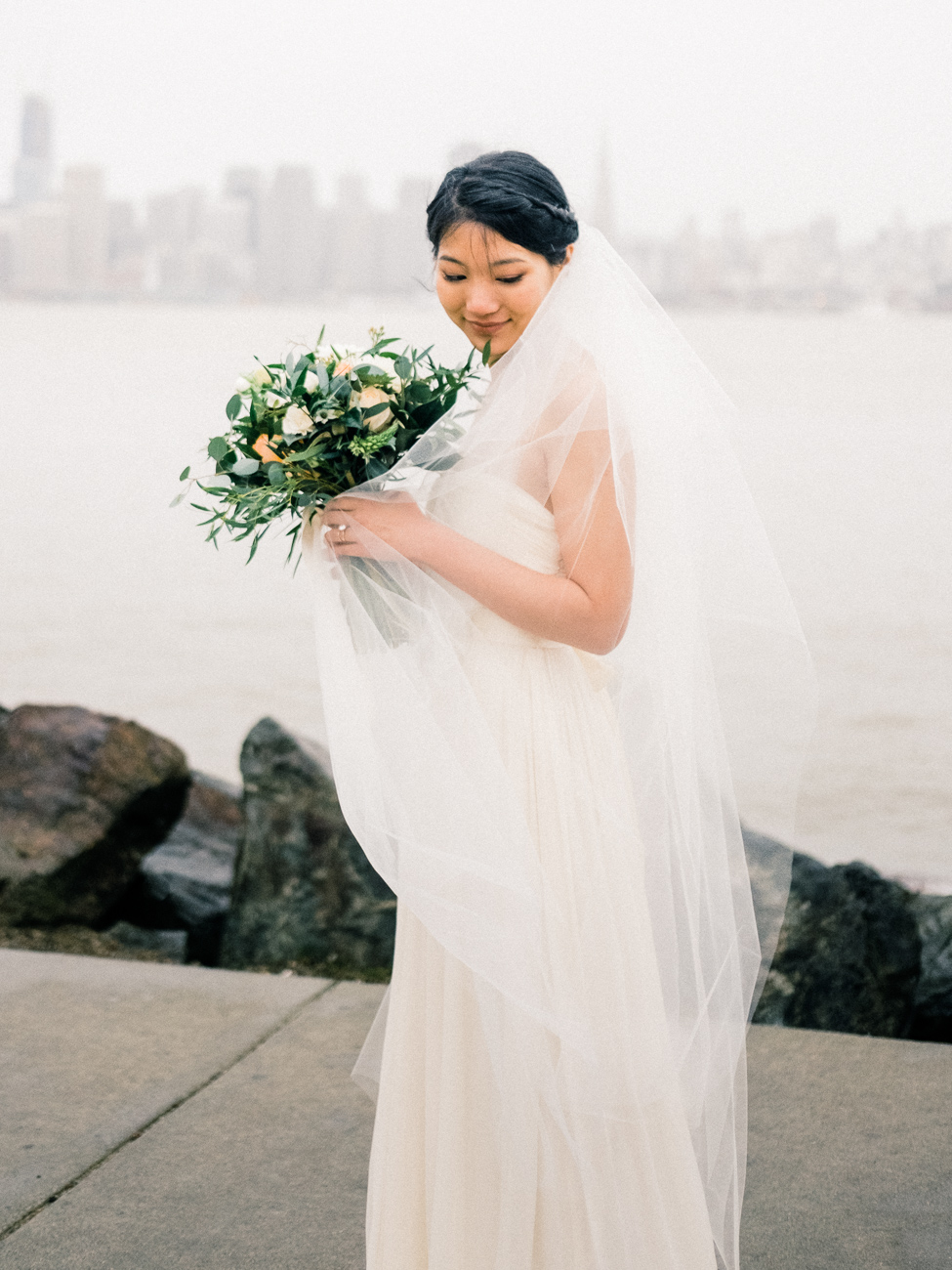 rainy san francisco bay wedding bride portrait