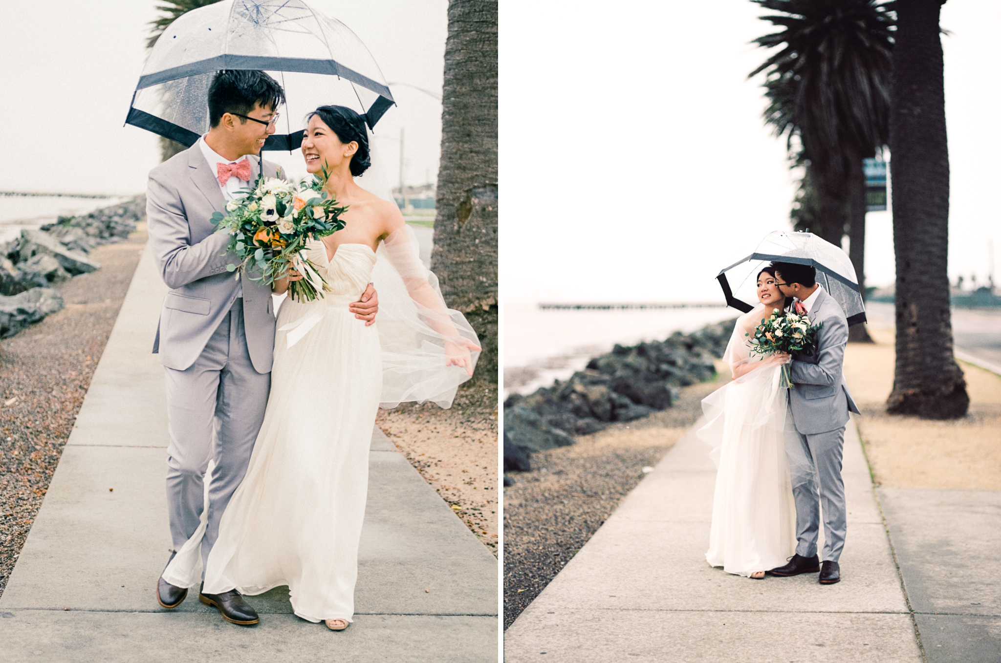 rainy san francisco bay wedding walking