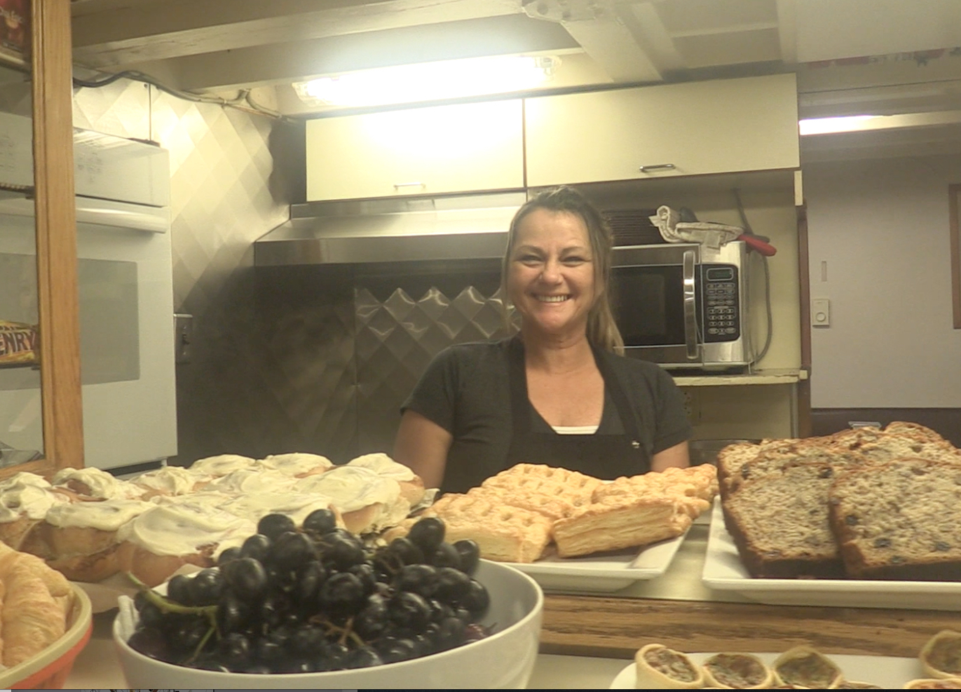 Elaine in the galley