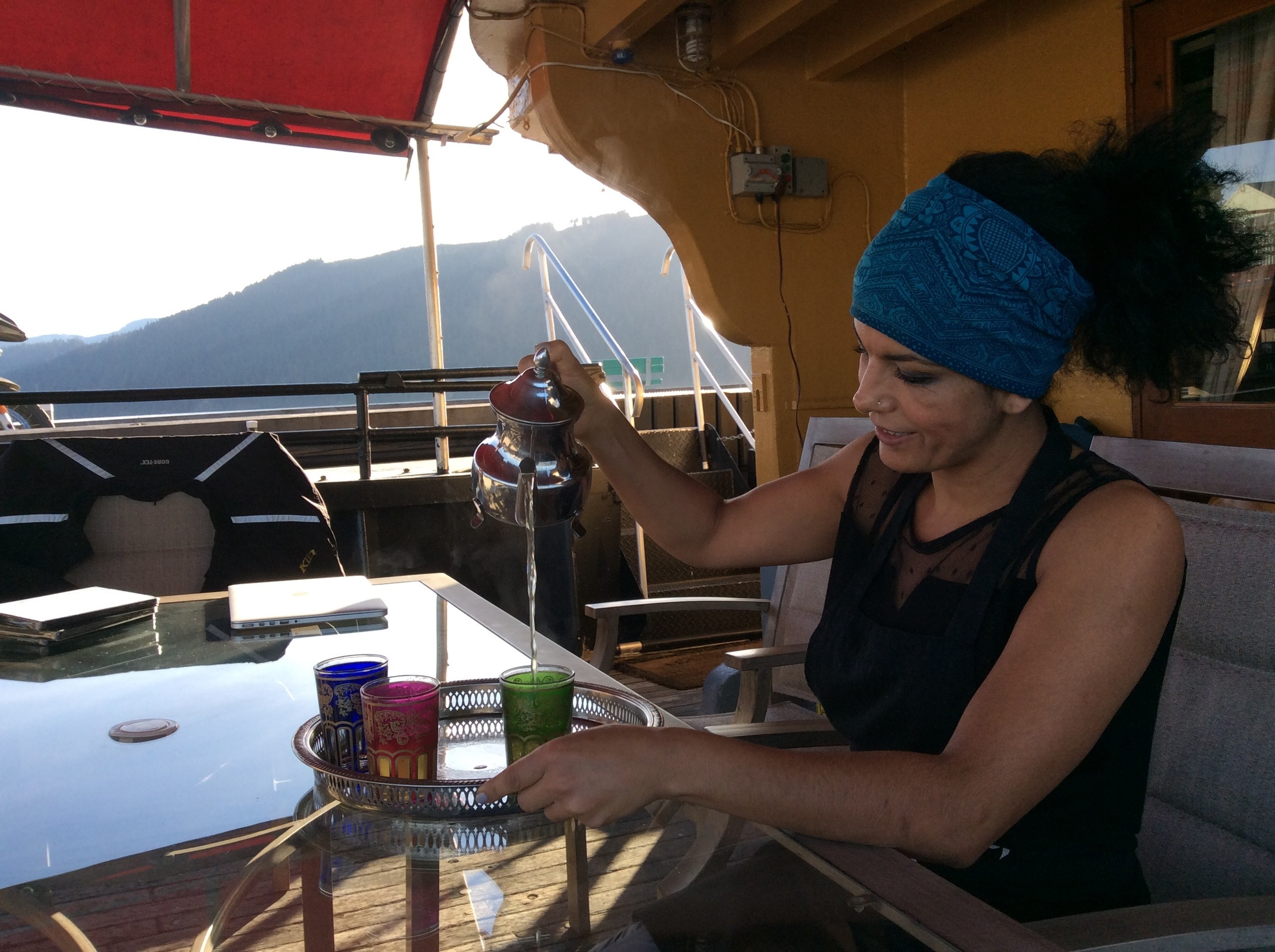 Bouchra pouring some Moroccan tea on the aft deck
