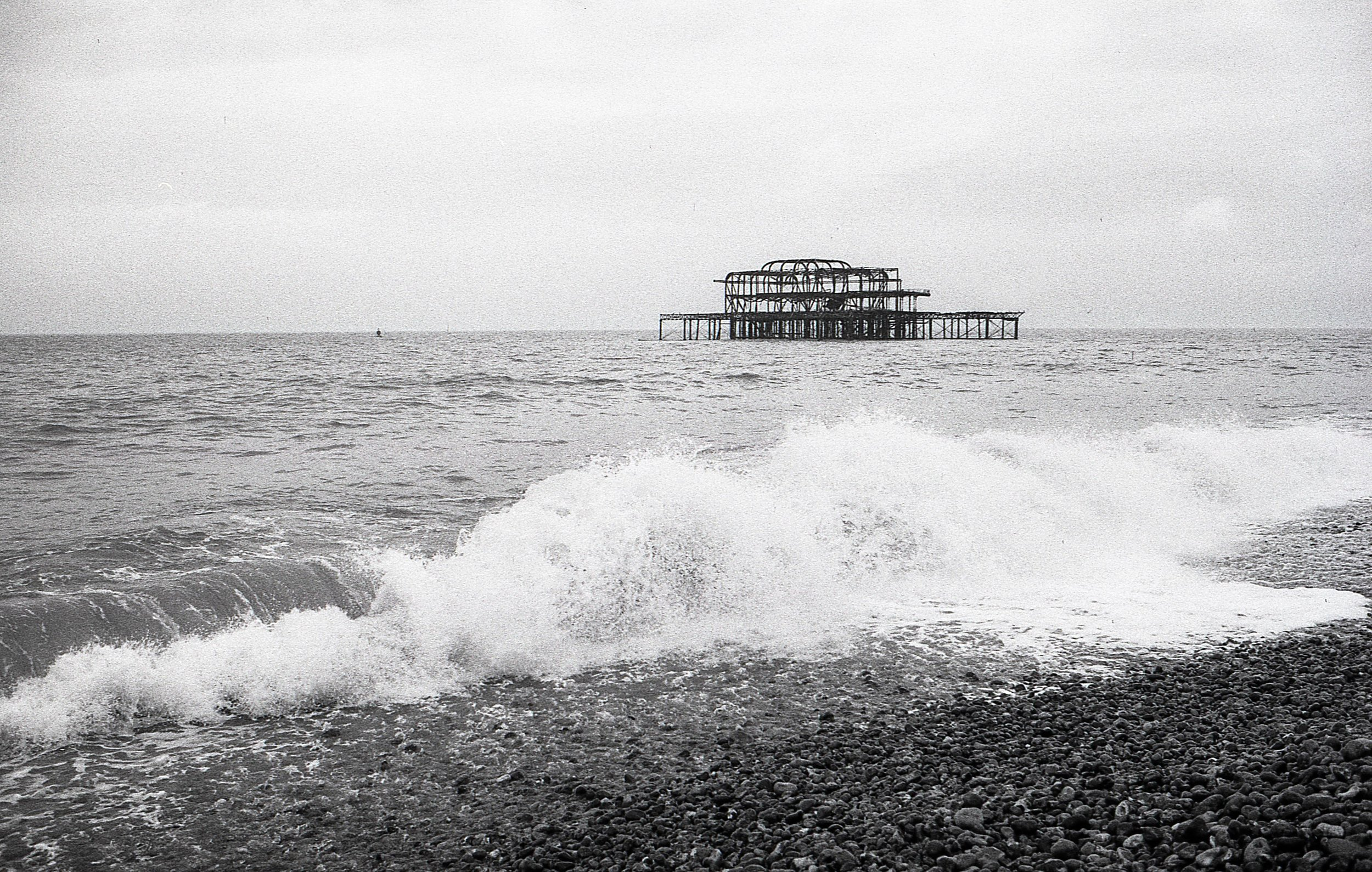 the burned out shell of Brighton's West Pier.... it's an evocative structure and whilst it would be great to see it restored to it's former glory, it's current state makes for a compelling photographic subject so maybe just leave it as it is?? Fomapan 200
