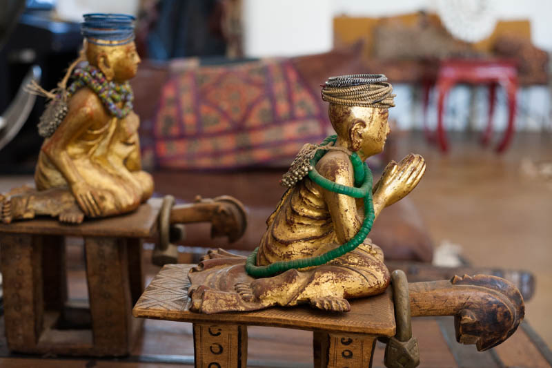 Antique disciples of the Buddha with old green currency beads from Mali (Interior design at Peacock Pavilions - MyMarrakesh, M.Montague)