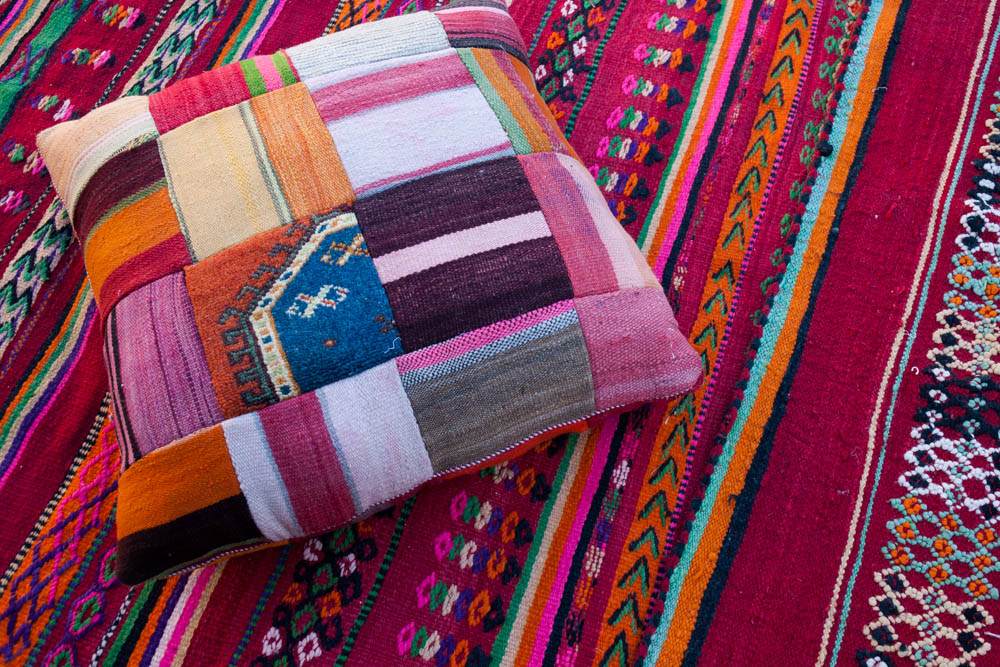 Moroccan Kilim Carpet and Pouf from The Souk by M.Montague.